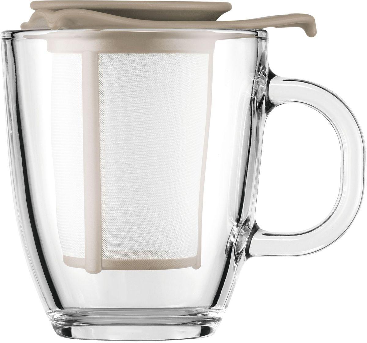 Набор кружек с фильтром Bodum YO-YO, цвет: песочный. AK11239-133-Y16AK11239-133-Y16Набор кружек с фильтром Bodum YO-YO - это удобная возможность заварить ароматный вкусный чай любого сорта на одну персону. Объемная кружка Yo-Yo имеет фильтр, в который засыпается чай. Как и в заварочный чайник, наливаем в кружку кипяток и плотно накрываем ее крышкой. Через прозрачное боросиликатное стекло можно наблюдать, как красиво заваривается чай. Когда процесс приготовления окончен, фильтр можно поставить на крышку и наслаждаться любимым напитком.