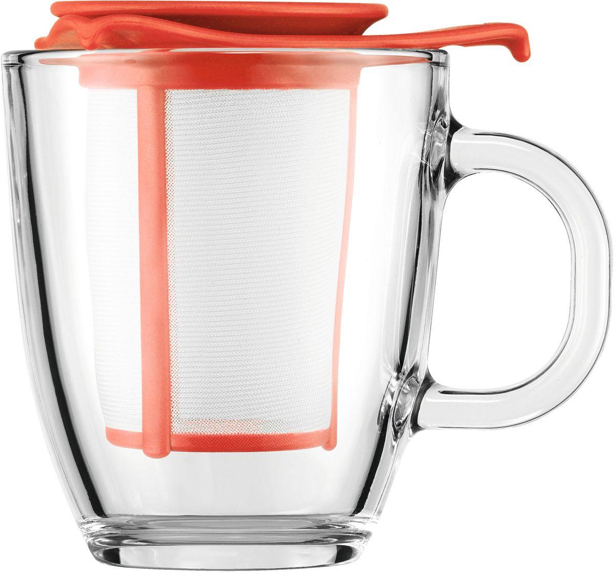 Набор кружек с фильтром Bodum YO-YO, цвет: красный. AK11239-137-Y16AK11239-137-Y16Набор кружек с фильтром Bodum YO-YO - это удобная возможность заварить ароматный вкусный чай любого сорта на одну персону. Объемная кружка Yo-Yo имеет фильтр, в который засыпается чай. Как и в заварочный чайник, наливаем в кружку кипяток и плотно накрываем ее крышкой. Через прозрачное боросиликатное стекло можно наблюдать, как красиво заваривается чай. Когда процесс приготовления окончен, фильтр можно поставить на крышку и наслаждаться любимым напитком.