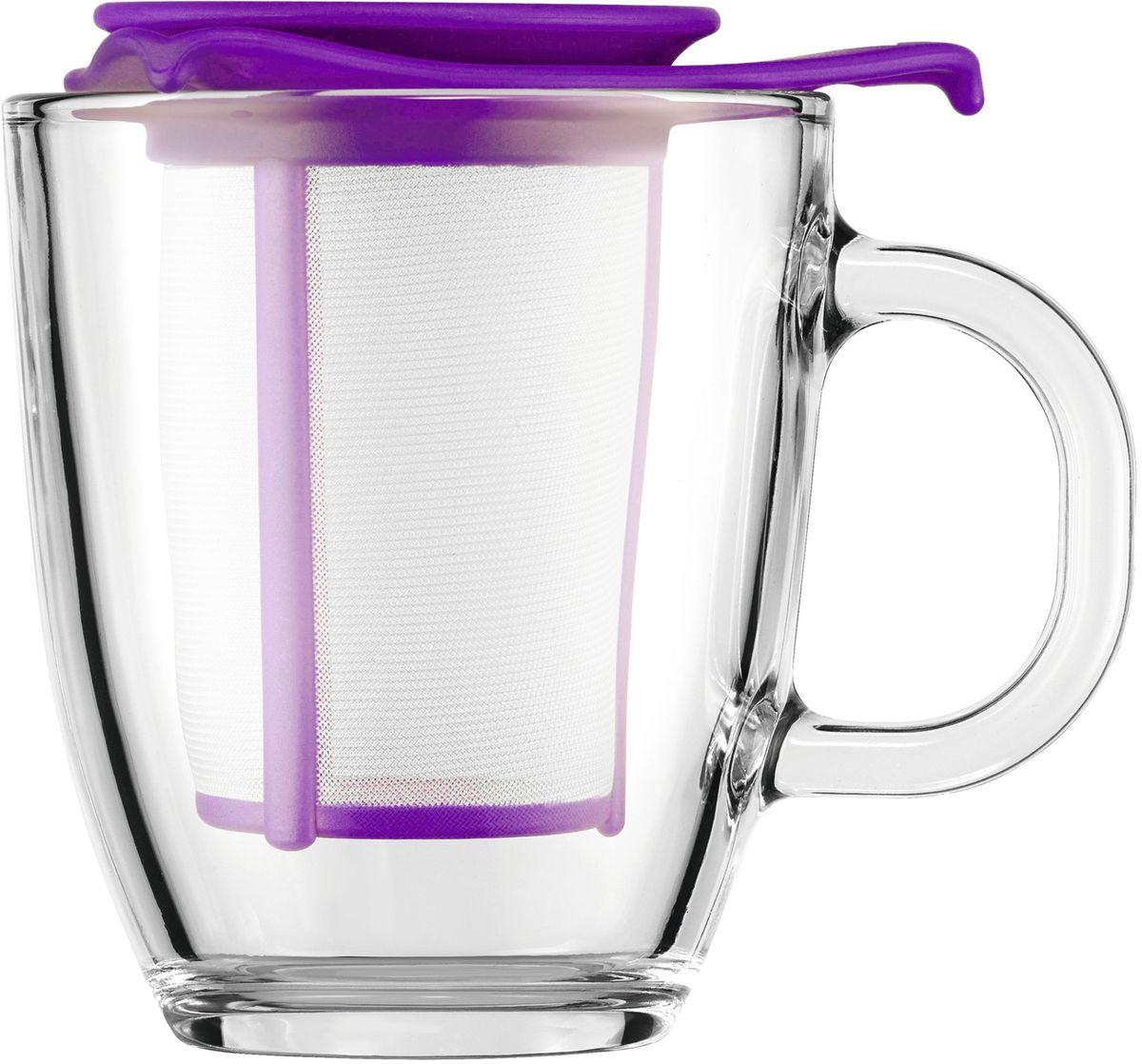 Набор кружек с фильтром Bodum YO-YO, цвет: фиолетовый. AK11239-150-Y16AK11239-150-Y16Набор кружек с фильтром Bodum YO-YO - это удобная возможность заварить ароматный вкусный чай любого сорта на одну персону. Объемная кружка Yo-Yo имеет фильтр, в который засыпается чай. Как и в заварочный чайник, наливаем в кружку кипяток и плотно накрываем ее крышкой. Через прозрачное боросиликатное стекло можно наблюдать, как красиво заваривается чай. Когда процесс приготовления окончен, фильтр можно поставить на крышку и наслаждаться любимым напитком.