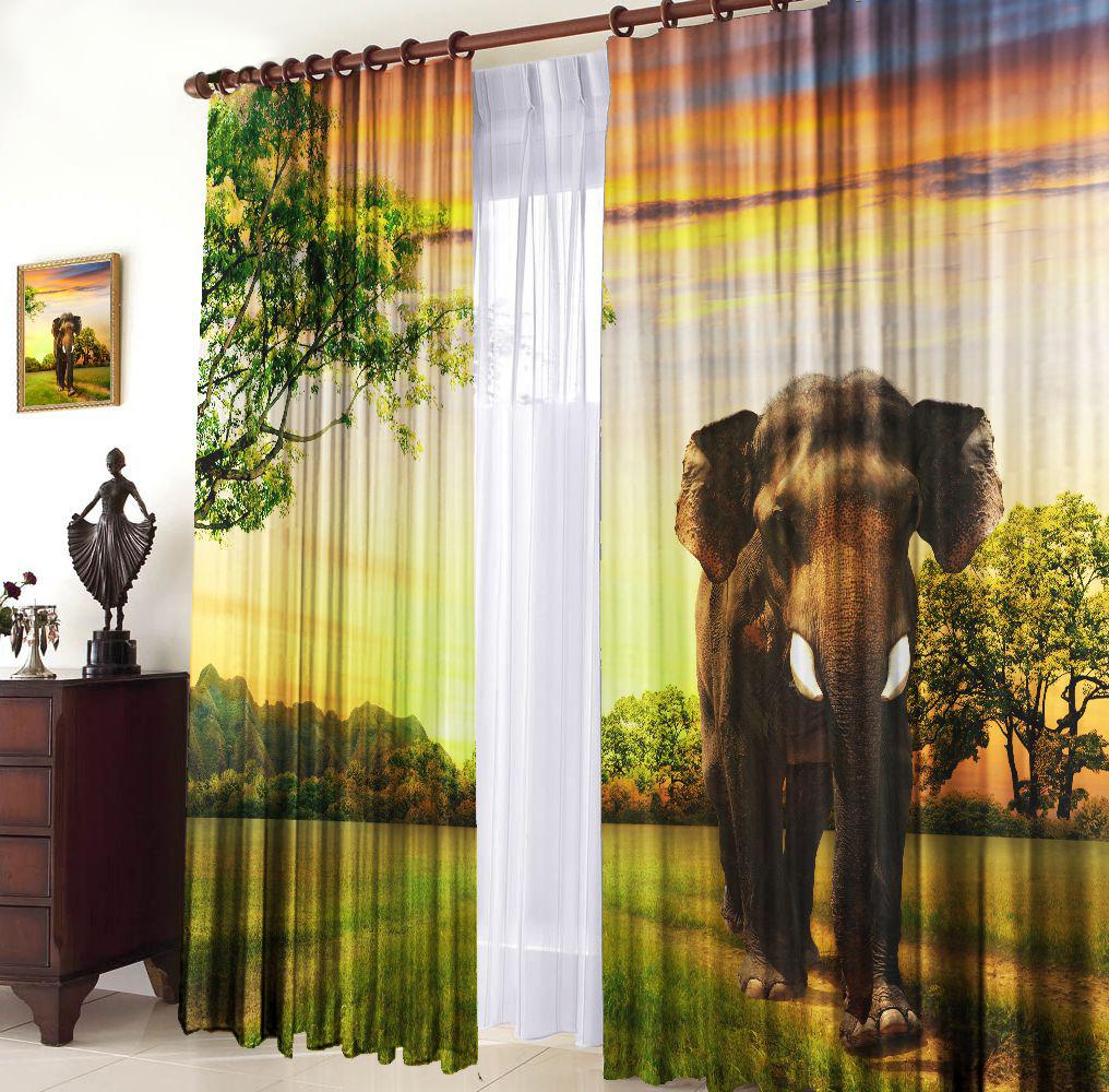Комплект фотоштор Zlata Korunka Слон, на ленте, высота 270 см фартуки кухонные zlata korunka фартук с карманом вафельный
