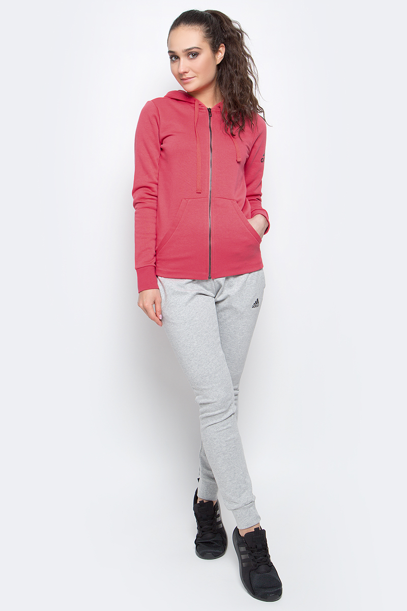 Толстовка женская adidas Ess Solid Fz Hd, цвет: розовый. S97084. Размер M (46/48) толстовка женская puma urban sports fz hoody цвет темно зеленый 59404414 размер m 44 46