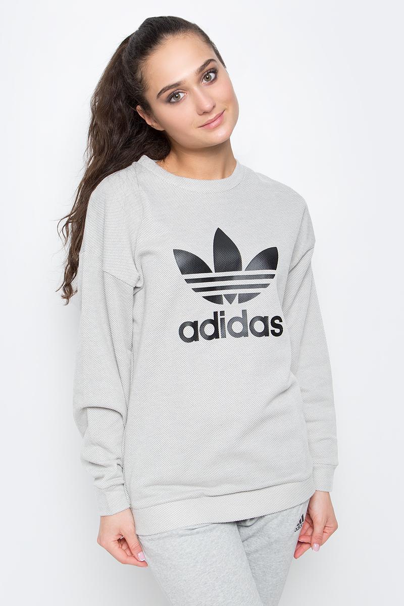 Купить Свитшот женский adidas Trefoil, цвет: серый. BJ8296. Размер 32 (40/42)