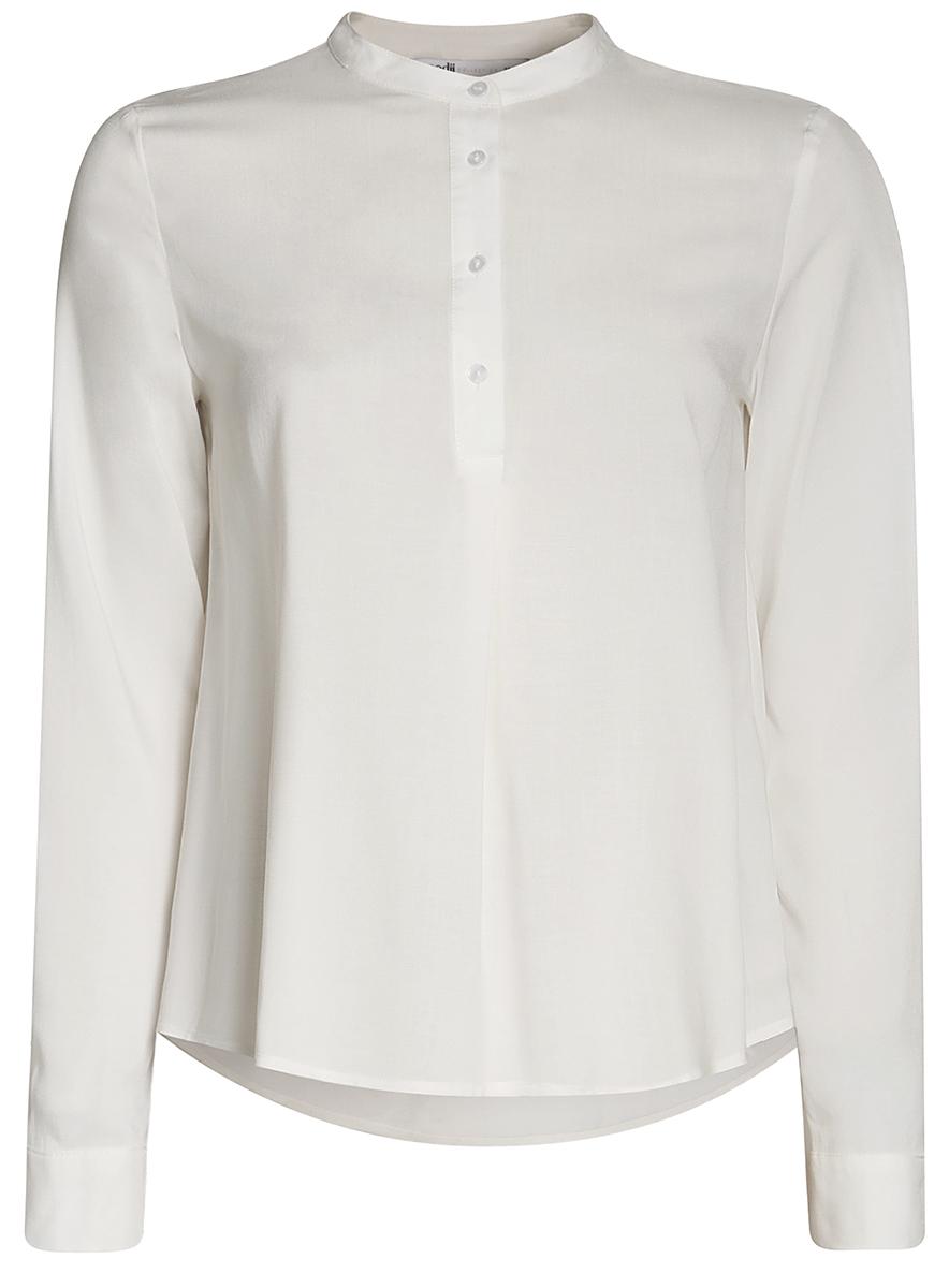 Блузка женская oodji Collection, цвет: белый. 21411113B/26346/1200N. Размер 44-170 (50-170) блузка женская oodji collection цвет серый черный розовый 21404007 15018 2341e размер 44 170 50 170