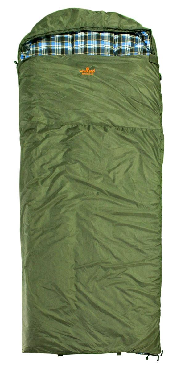 Спальный мешок Woodland Berloga 400 L, левосторонняя молния, цвет: хаки, 190+35 х 90 см спальный мешок woodland berloga 400 l шерсть холофайбер