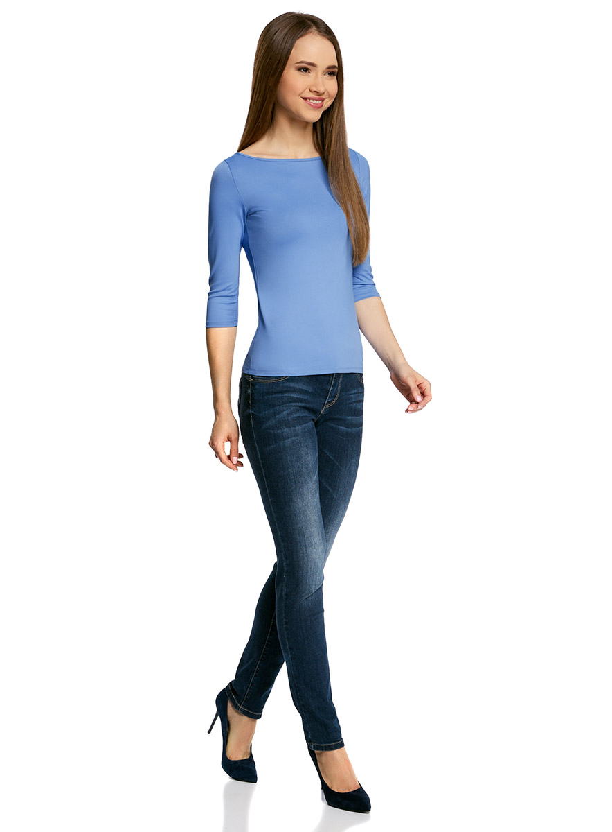 Лонгслив женский oodji Collection, цвет: голубой. 24211001B/45297/7500N. Размер XS (42) пуловеры oodji пуловер