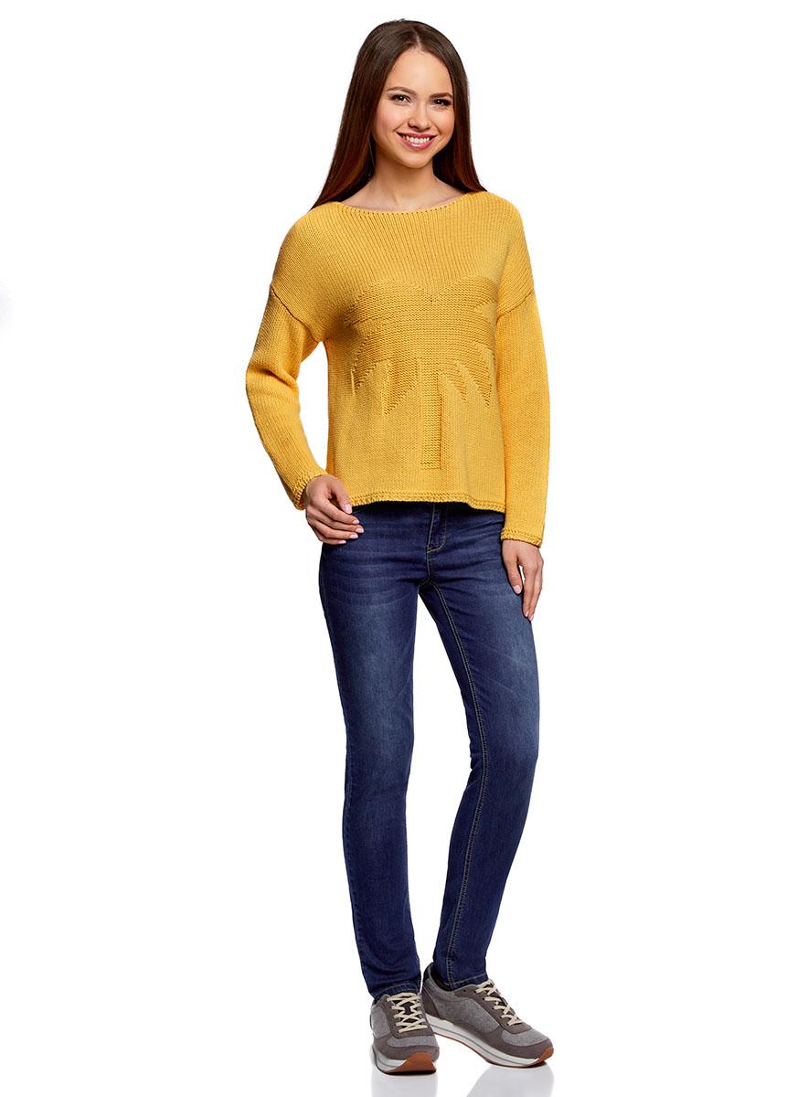 Джемпер женский oodji Knits Ultra, цвет: желтый. 63803072/46419/5200N. Размер L (48)63803072/46419/5200NУютный женский джемпер с вырезом горловины лодочка и длинными рукавами выполнен из натурального хлопка. Спереди модель оформлена рельефной пальмой.