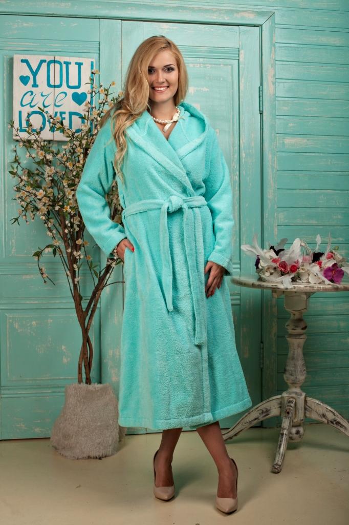 Халат женский Five Wien Home Mary, цвет: бирюзовый. 484. Размер L/XL (48/50)  халат домашний five wien home mary peach echo