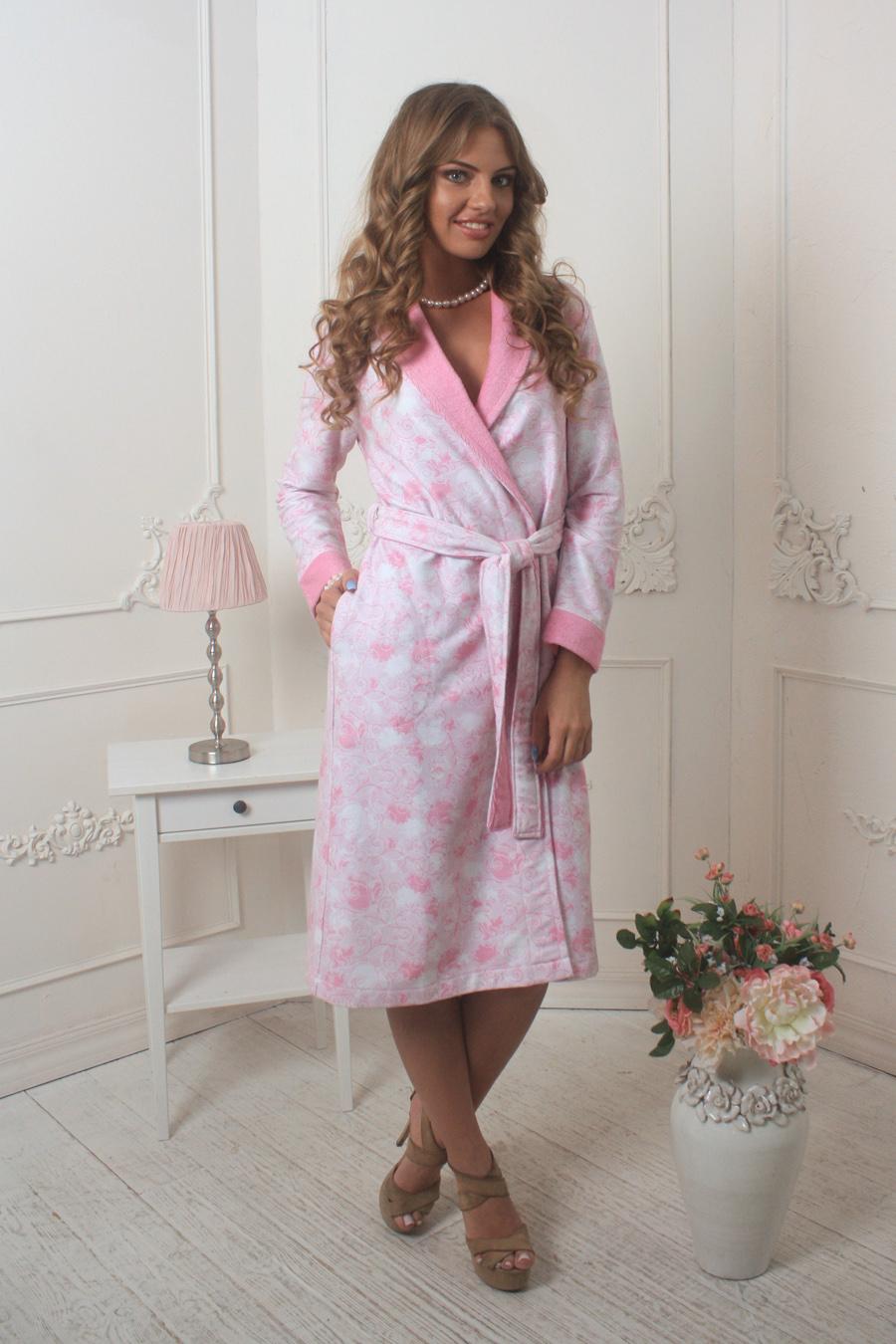 Халат женский Five Wien Home Liana, цвет: розовый, белый. 452. Размер XXL (52/54) платье liana