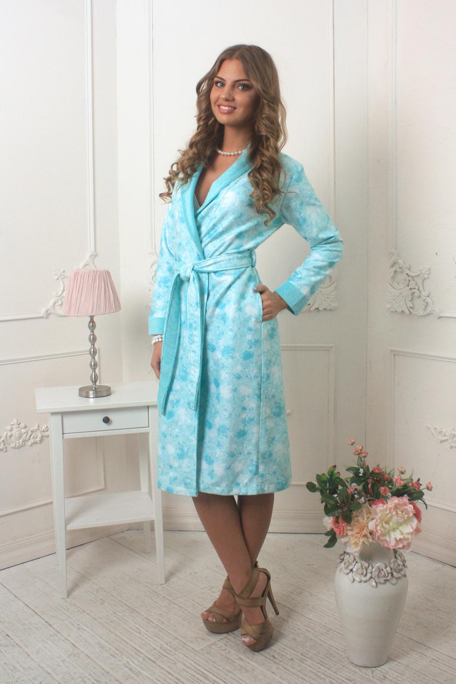 Халат женский Five Wien Home Liana, цвет: бирюзовый, белый. 452. Размер L/XL (48/50) платье liana