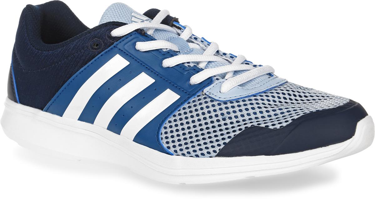 Кроссовки для фитнеса женские adidas Essential Fun II, цвет: темно-синий, светло-голубой, белый. BB1523. Размер 6,5 (38,5)BB1523Женские кроссовки для фитнеса adidas Essential Fun II, выполненные из сетчатого текстиля и искусственной кожи, оформлены фирменным тиснением. Шнурки надежно зафиксируют модель на ноге. Внутренняя поверхность из сетчатого текстиля комфортна при движении. Стелька выполнена из легкого ЭВА-материала с поверхностью из текстиля. Подошва изготовлена из высококачественной легкой резины, которая обеспечит отличную амортизацию.Поверхность подошвы дополнена рельефным рисунком.