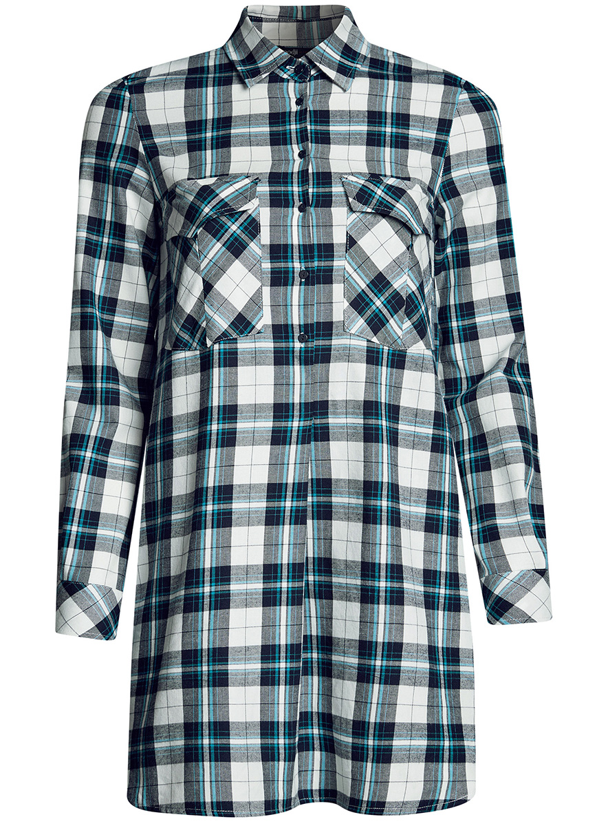 Платье-рубашка oodji Ultra, цвет: белый. 11911004-2/45252/1279C. Размер: 36-170 (42-170)11911004-2/45252/1279CПлатье-рубашка oodji Ultra выполнено из натурального хлопка с принтом в крупную клетку. Модель с отложным воротничком и закругленными разрезами застегивается на пуговицы и дополнена на груди двумя накладными карманами под клапанами. Манжеты рукавов также застегиваются на пуговицы.