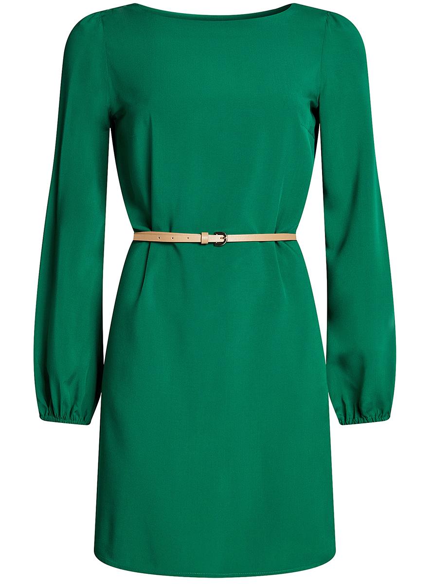 Платье женское oodji Ultra, цвет: зеленый. 11900150-8B/42540/6E00N. Размер 38 (44-164)11900150-8B/42540/6E00NСтильное платье oodji Ultra выполнено из вискозы. Модель с круглым вырезом горловины и длинными рукавами дополнена узким ремнем из искусственной кожи с металлической пряжкой. Низ рукавов собран на резинку.