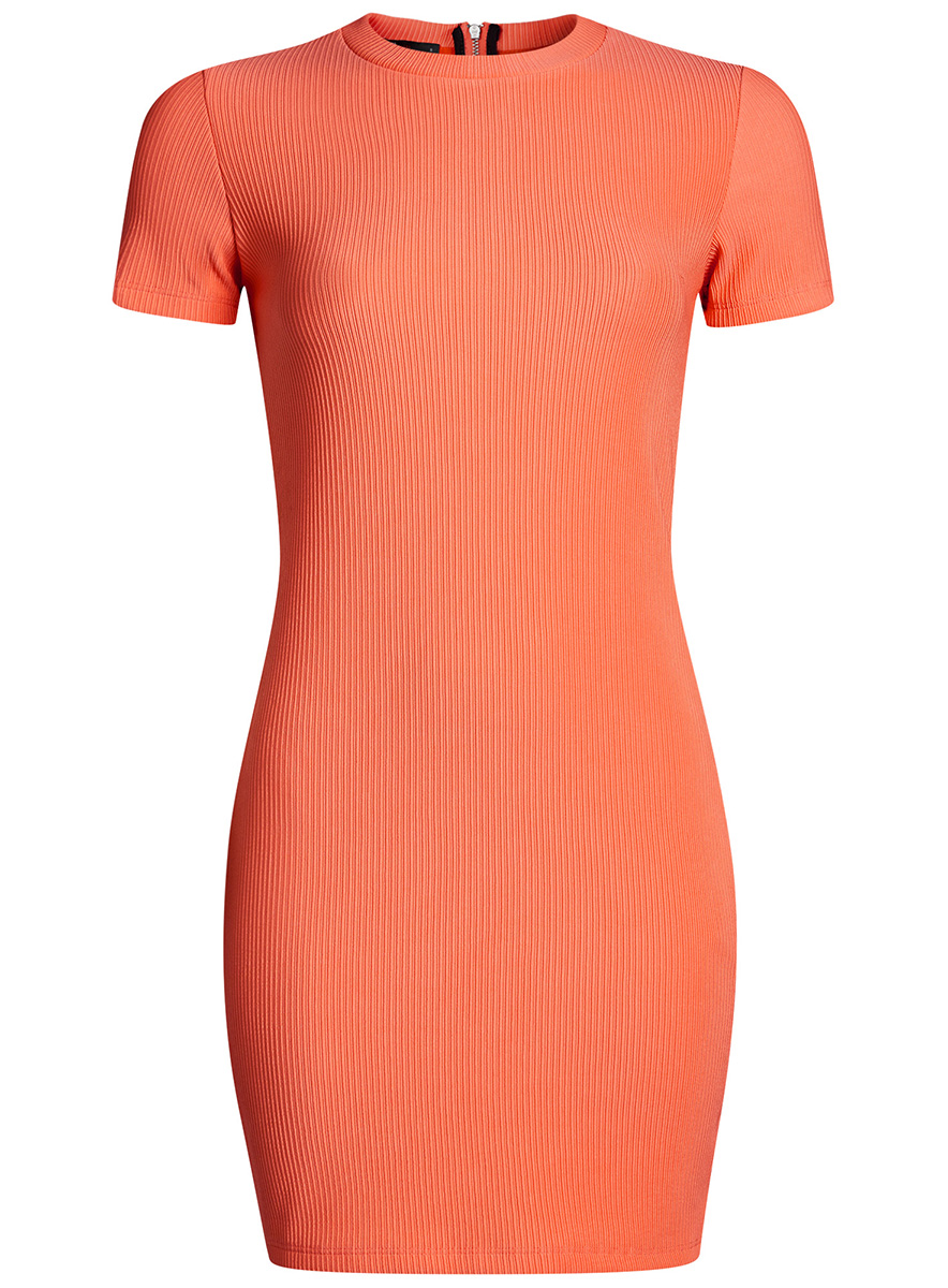 Платье oodji Ultra, цвет: оранжевый. 14011007/45262/5500N. Размер XXS (40)14011007/45262/5500NСтильное трикотажное платье oodji Ultra выполнено из высококачественного комбинированного материала в мелкую резинку, мягкого и нежного на ощупь. Модель по фигуре с круглым вырезом горловины и короткими рукавами застегивается на спинке на застежку-молнию.