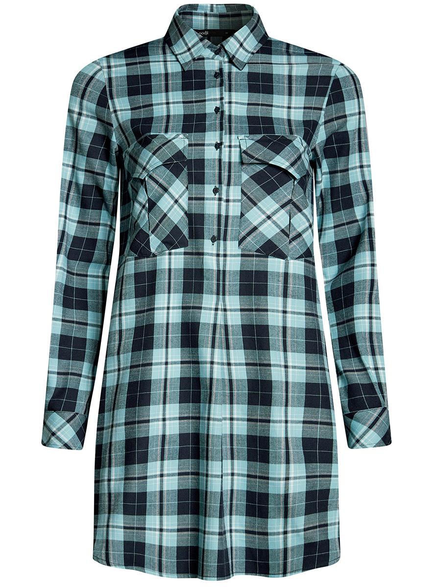 Платье-рубашка oodji Ultra, цвет: синий. 11911004-2/45252/7965C. Размер 36-170 (42-170)11911004-2/45252/7965CПлатье-рубашка oodji Ultra выполнено из натурального хлопка с принтом в крупную клетку. Модель с отложным воротничком и закругленными разрезами застегивается на пуговицы и дополнена на груди двумя накладными карманами под клапанами. Манжеты рукавов также застегиваются на пуговицы.