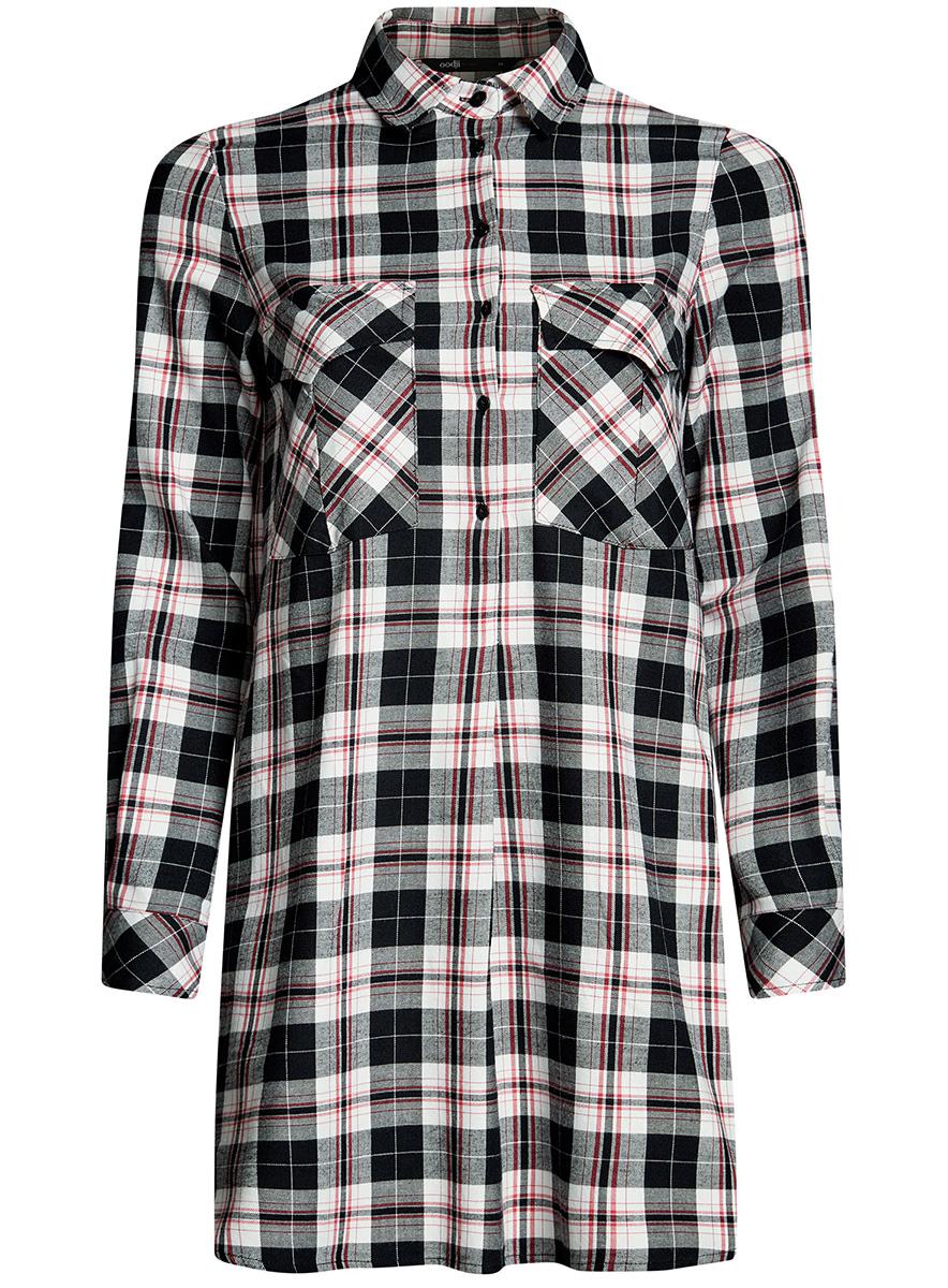 Платье-рубашка oodji Ultra, цвет: черный. 11911004-2/45252/2912C. Размер 36-170 (42-170)11911004-2/45252/2912CПлатье-рубашка oodji Ultra выполнено из натурального хлопка с принтом в крупную клетку. Модель с отложным воротничком и закругленными разрезами застегивается на пуговицы и дополнена на груди двумя накладными карманами под клапанами. Манжеты рукавов также застегиваются на пуговицы.