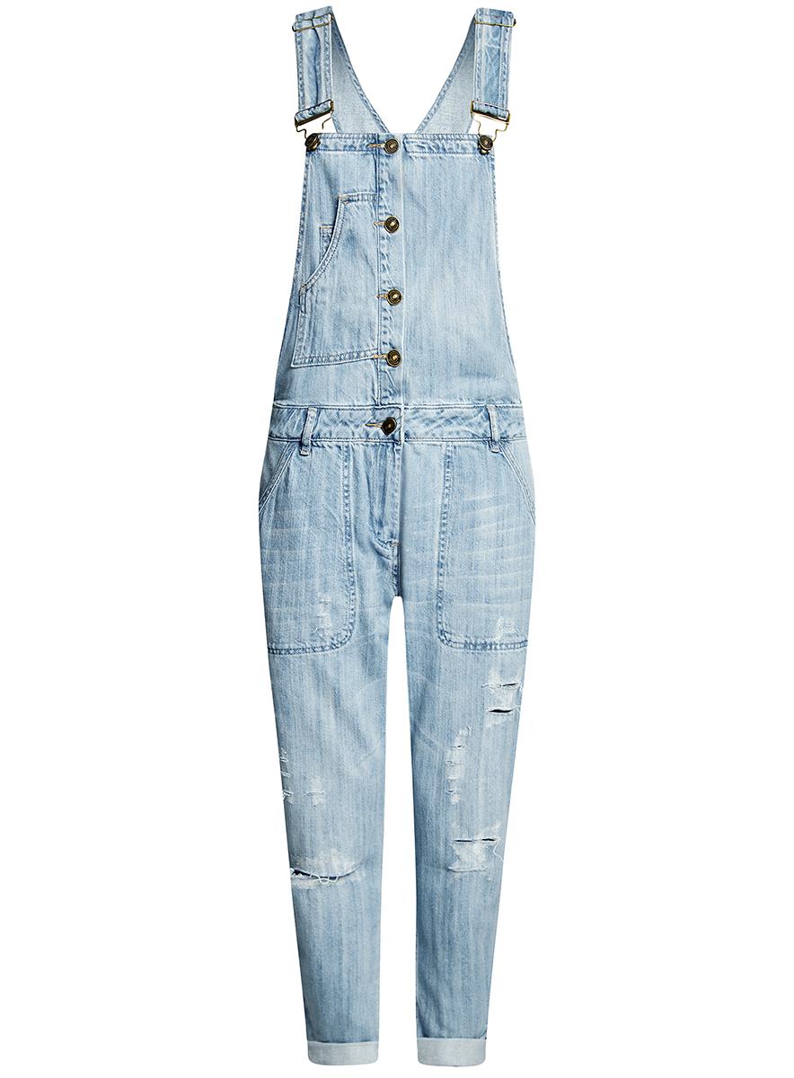 Полукомбинезон женский oodji Ultra, цвет: синий. 13108003-1/42559/7000W. Размер 42-170 (48-170)13108003-1/42559/7000WСтильный женский полукомбинезон от oodji выполнен из джинсы. Модель, декорированная эффектными потертостями, имеет широкие лямки, регулируемые по длине, застегивается на пуговицы и на молнию в ширинке.