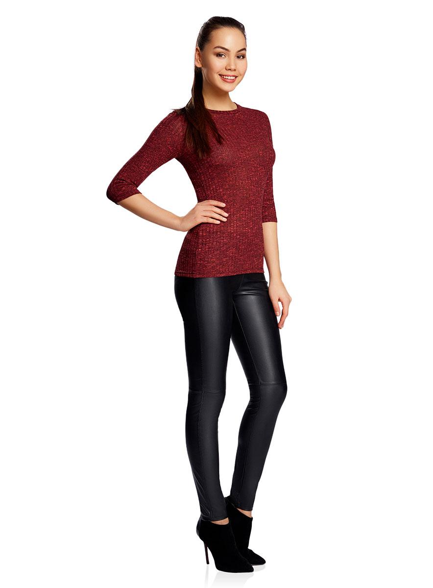 Джемпер женский oodji Ultra, цвет: красный. 14201025/46078/4529M. Размер L (48)14201025/46078/4529MЖенский джемпер в рубчик с круглым вырезом горловины и рукавами 3/4 выполнен из высококачественной пряжи.