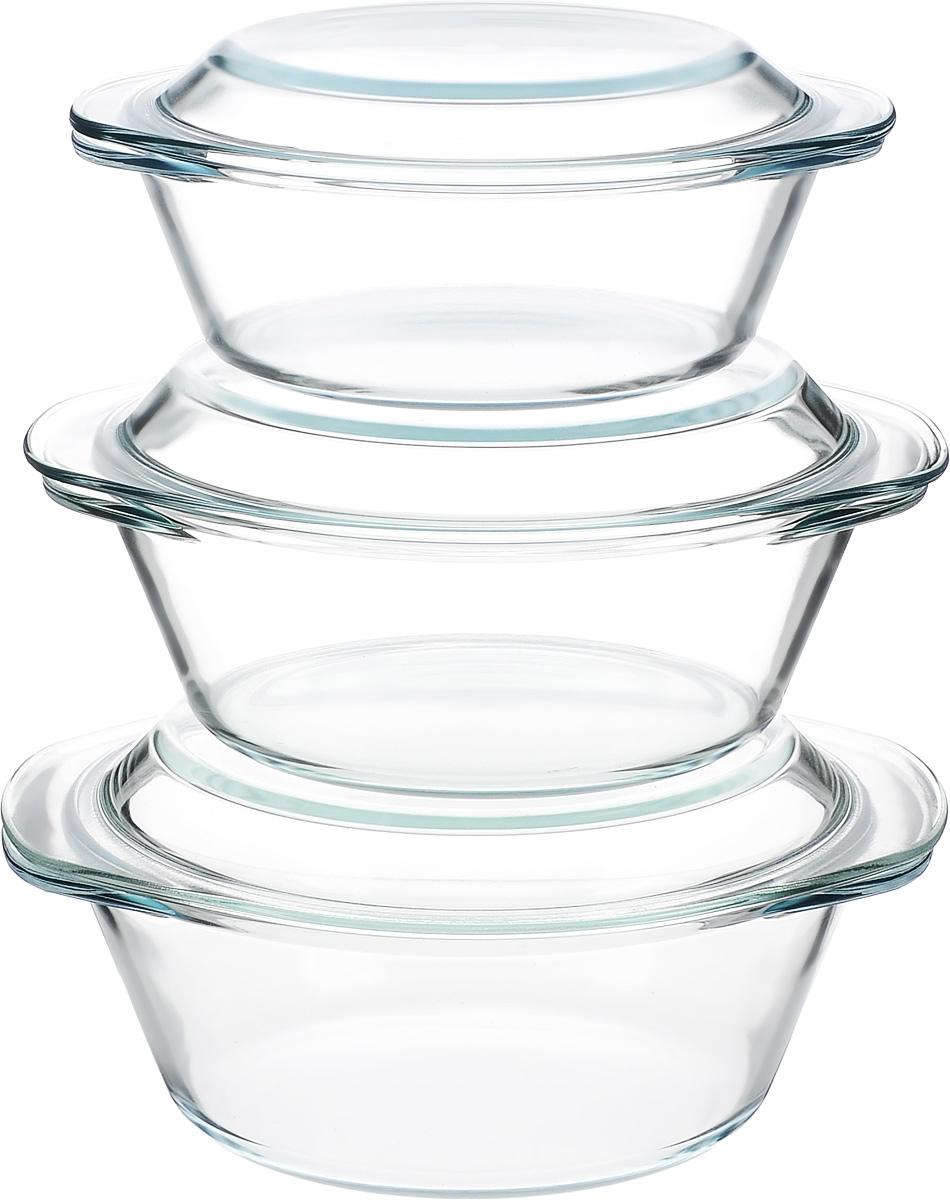 Набор кастрюль Helper Gurman, с крышками, 6 предметов4510Набор Helper Gurman состоит из трех кастрюль с крышками. Кастрюли изготовлены из жаропрочного стекла. Стеклянная огнеупорная посуда идеальна для приготовления блюд в духовке, микроволновой печи, а также для хранения продуктов в холодильнике и морозильной камере. Безопасна с точки зрения экологии. Не вступает в реакции с готовящейся пищей, не боится кислот и солей. Не ржавеет, в ней не появляется накипь. Не впитывает запахи и жир. Благодаря прозрачности стекла, за едой можно наблюдать при ее готовке. Изделия оснащены небольшими ручками.Можно мыть в посудомоечной машине.Объем кастрюль: 1,2 л, 1,8 л, 2,3 л.Диаметр кастрюль: 18,5 см, 21 см, 22 см.Высота стенки кастрюль: 6,5 см, 8 см, 9 см.