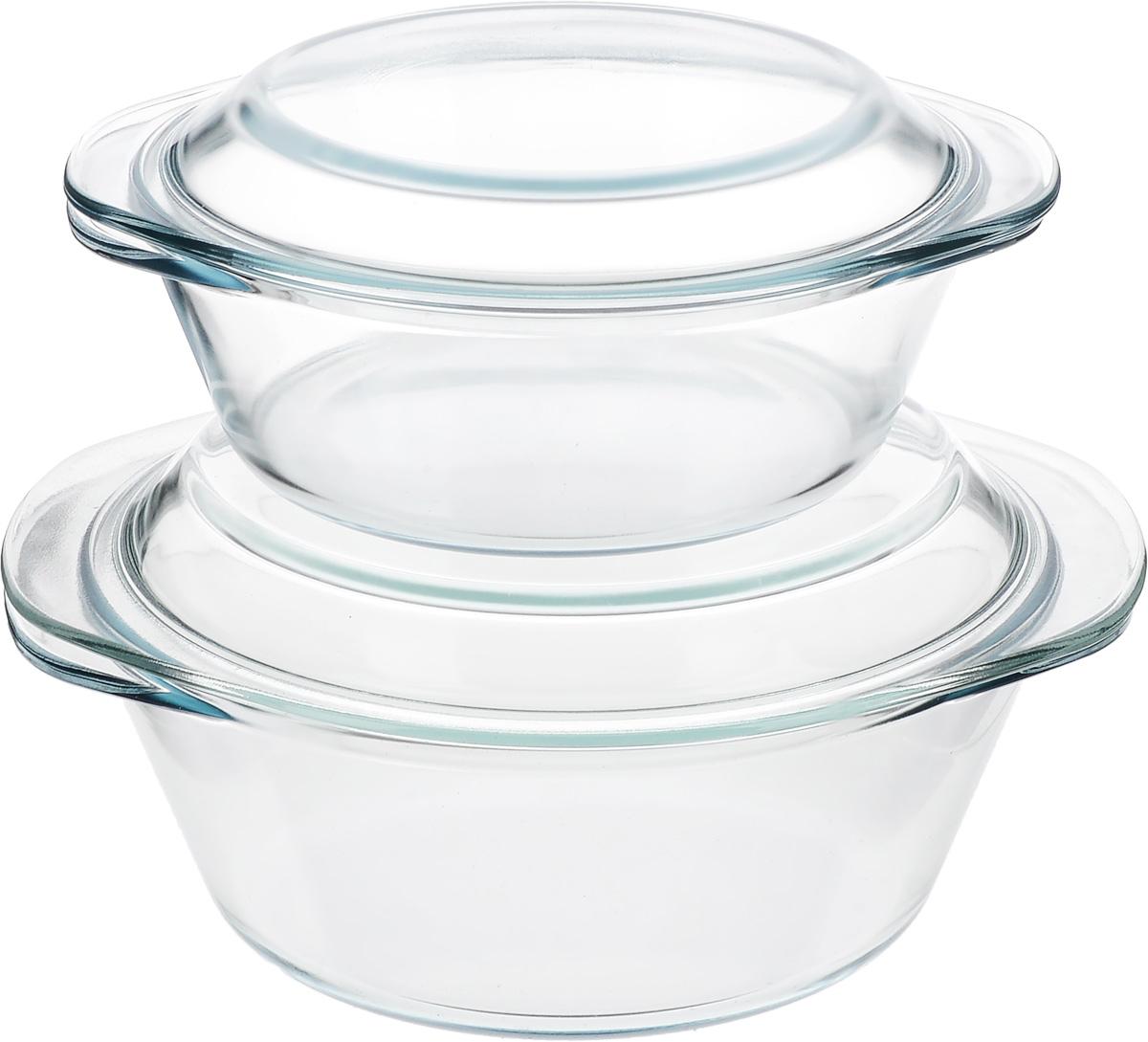 """Набор Helper """"Gurman"""" состоит из двух кастрюль с крышками. Кастрюли изготовлены из жаропрочного стекла. Стеклянная огнеупорная посуда идеальна для приготовления блюд в духовке, микроволновой печи, а также для хранения продуктов в холодильнике и морозильной камере. Безопасна с точки зрения экологии. Не вступает в реакции с готовящейся пищей, не боится кислот и солей. Не ржавеет, в ней не появляется накипь. Не впитывает запахи и жир. Благодаря прозрачности стекла, за едой можно наблюдать при ее готовке. Изделия оснащены небольшими ручками.Можно мыть в посудомоечной машине.Объем кастрюль: 1,2 л, 2,3 л.Диаметр кастрюль: 18,5 см, 22 см.Высота стенки кастрюль: 6,5 см, 8,5 см."""