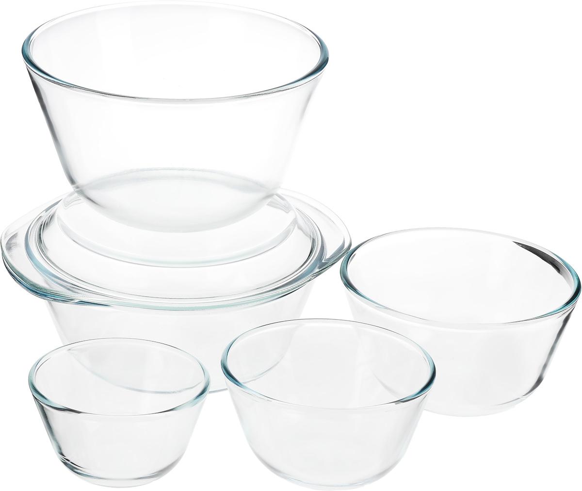 Набор термостойкой посуды Helper Gurman, 6 предметов4544Набор Helper Gurman состоит из четырех мисок и кастрюли с крышкой. Посуда изготовлена из жаропрочного стекла. Стеклянная огнеупорная посуда идеальна для приготовления блюд в духовке, микроволновой печи, а также для хранения продуктов в холодильнике и морозильной камере. Безопасна с точки зрения экологии. Не вступает в реакции с готовящейся пищей, не боится кислот и солей. Не ржавеет, в ней не появляется накипь. Не впитывает запахи и жир. Благодаря прозрачности стекла, за едой можно наблюдать при ее готовке. Изделия оснащены небольшими ручками.Можно мыть в посудомоечной машине.Объем мисок: 400 мл, 650 мл, 1,25 л, 3 л.Диаметр мисок: 11,5 см, 12,5 см, 16 см, 21,5 см.Высота стенки мисок: 6,5 см, 7,5 см, 9 см, 12 см.Объем кастрюли: 2,3 л.Диаметр кастрюли: 22 см.Высота стенки кастрюли: 8,5 см.