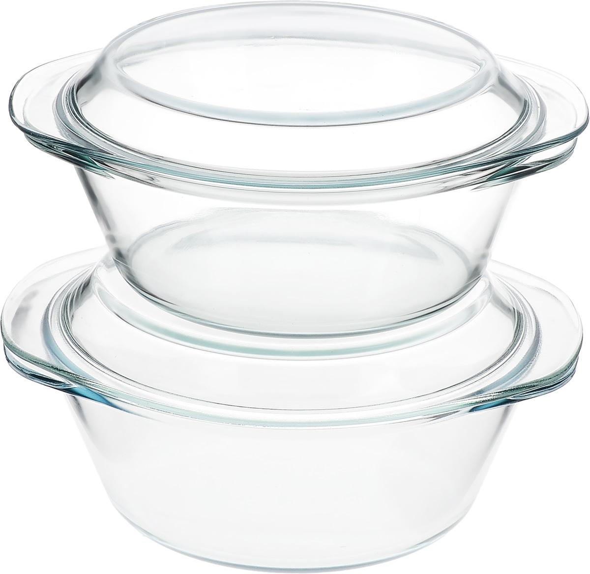 Набор кастрюль Helper Gurman, с крышками, 4 предмета. 45124512Набор Helper Gurman состоит из двух кастрюль с крышками. Кастрюли изготовлены из жаропрочного стекла. Стеклянная огнеупорная посуда идеальна для приготовления блюд в духовке, микроволновой печи, а также для хранения продуктов в холодильнике и морозильной камере. Безопасна с точки зрения экологии. Не вступает в реакции с готовящейся пищей, не боится кислот и солей. Не ржавеет, в ней не появляется накипь. Не впитывает запахи и жир. Благодаря прозрачности стекла, за едой можно наблюдать при ее готовке. Изделия оснащены небольшими ручками.Можно мыть в посудомоечной машине.Объем кастрюль: 1,8 л, 2,3 л.Диаметр кастрюль: 21 см, 22 см.Высота стенки кастрюль: 7,5 см, 8,5 см.