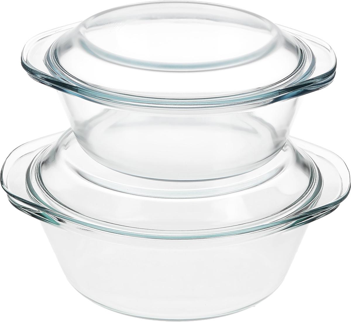 Набор кастрюль Helper Gurman, с крышками, 4 предмета4511Набор Helper Gurman состоит из двух кастрюль с крышками. Кастрюли изготовлены из жаропрочного стекла. Стеклянная огнеупорная посуда идеальна для приготовления блюд в духовке, микроволновой печи, а также для хранения продуктов в холодильнике и морозильной камере. Безопасна с точки зрения экологии. Не вступает в реакции с готовящейся пищей, не боится кислот и солей. Не ржавеет, в ней не появляется накипь. Не впитывает запахи и жир. Благодаря прозрачности стекла, за едой можно наблюдать при ее готовке. Изделия оснащены небольшими ручками.Можно мыть в посудомоечной машине.Объем кастрюль: 1,2 л, 1,8 л.Диаметр кастрюль: 18,5 см, 21 см.Высота стенки кастрюль: 6,5 см, 8 см.