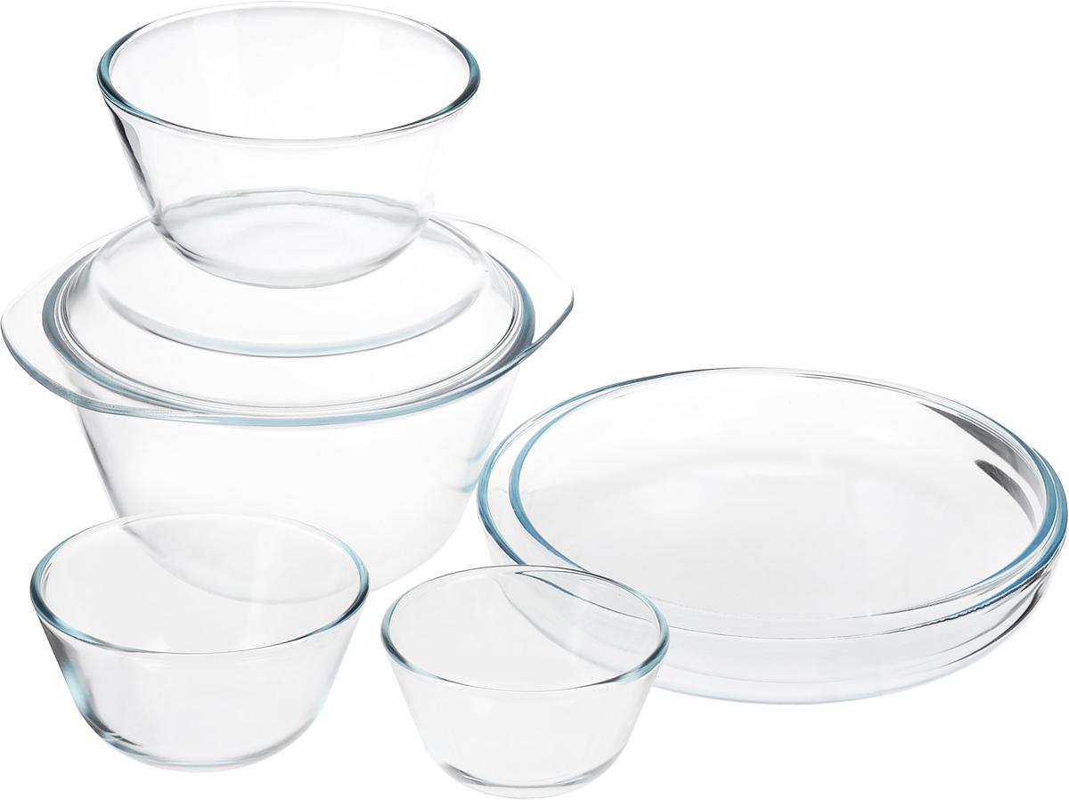 Набор термостойкой посуды Helper Gurman, 7 предметов4543Набор Helper Gurman состоит из четырех мисок, 2 лотков для запекания и крышки-тарелки. Посуда изготовлена из жаропрочного стекла. Стеклянная огнеупорная посуда идеальна для приготовления блюд в духовке, микроволновой печи, а также для хранения продуктов в холодильнике и морозильной камере. Безопасна с точки зрения экологии. Не вступает в реакции с готовящейся пищей, не боится кислот и солей. Не ржавеет, в ней не появляется накипь. Не впитывает запахи и жир. Благодаря прозрачности стекла, за едой можно наблюдать при ее готовке. Изделия оснащены небольшими ручками.Можно мыть в посудомоечной машине.Объем мисок: 400 мл, 650 мл, 1,25 л, 3 л.Диаметр мисок: 11,5 см, 12,5 см, 16 см, 21,5 см.Высота стенки мисок: 6,5 см, 7,5 см, 9 см, 12 см.Размер лотков для запекания: 26 х 26 х 4,5 см, 28 х 28 х 4,5 см.Размер крышки-тарелки: 26,5 х 23 х 2,3 см.