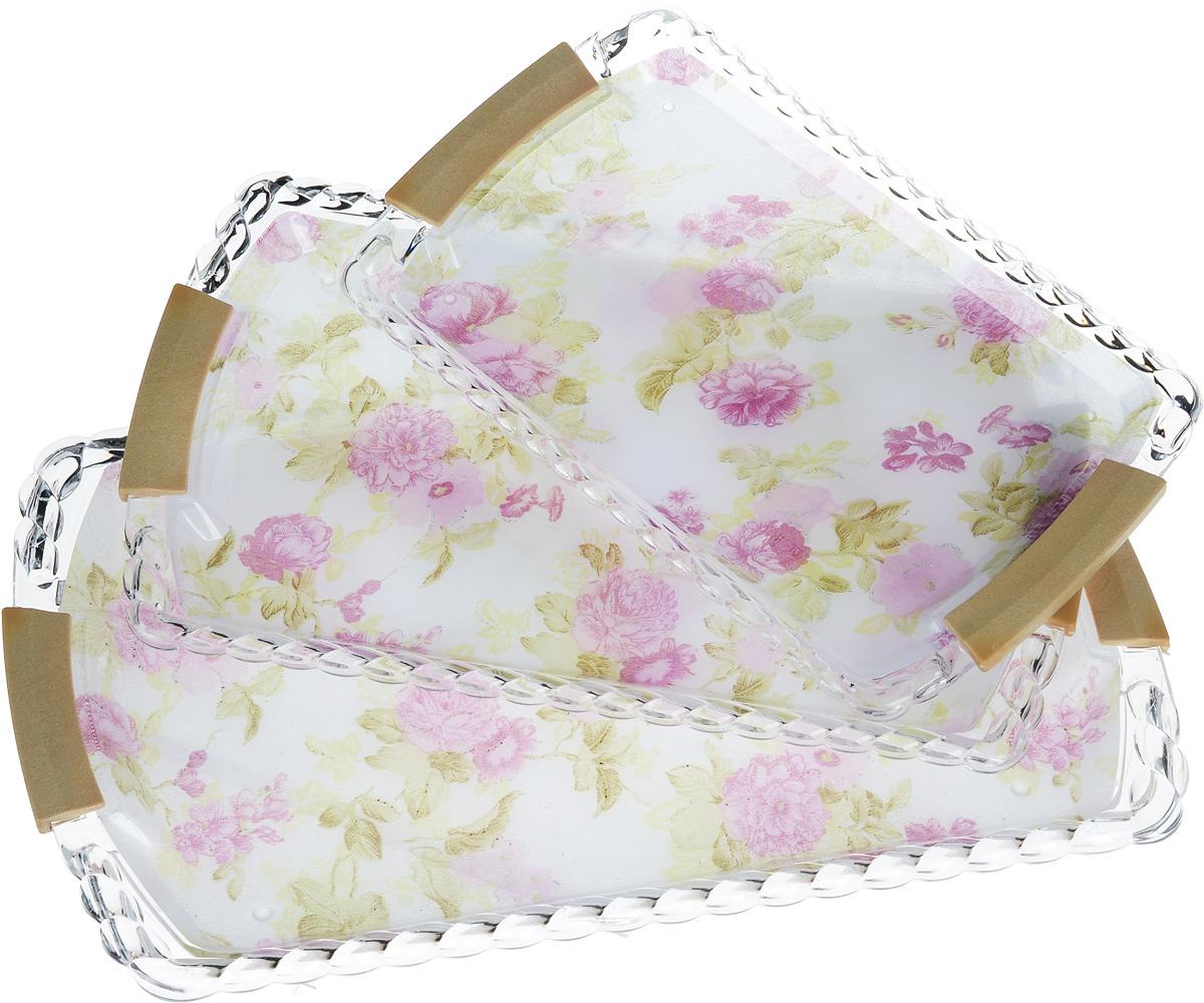 Набор подносов Mayer & Boch Фиолетовые цветы, 3 шт набор подносов 2 шт 63 х 38 см
