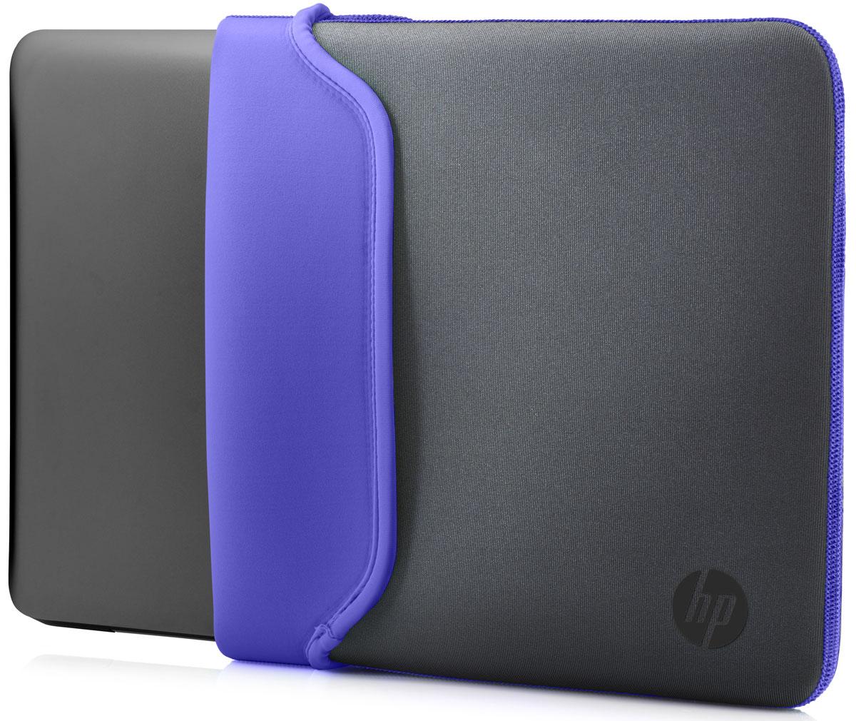HP Neoprene Sleeve чехол для ноутбука 14, Grey Purple (V5C28AA)1000397106Поместите свой ноутбук в этот яркий и надежный цветной чехол HP Neoprene Sleeve. Этот прочный неопреновый чехол защищает ваш ПК от внешних воздействий, ударов и царапин. Аксессуар выполнен из двустороннего материала, так что вы в любой момент можете изменить его цвет.