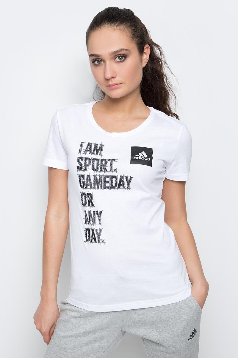 Футболка женская adidas I Am Sport, цвет: белый. BP8357. Размер XS (40/42)BP8357Женская футболка I Am Sport от adidas выполнена из гладкого хлопкового трикотажа. Модель свободного кроя с круглым вырезом горловины и стандартными короткими рукавами.