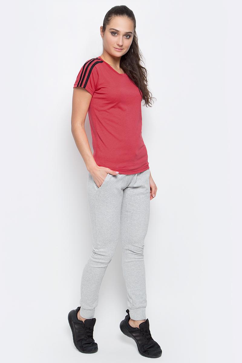 Футболка женская adidas Ess 3S Slim Tee, цвет: коралловый. S97184. Размер XS (40/42)