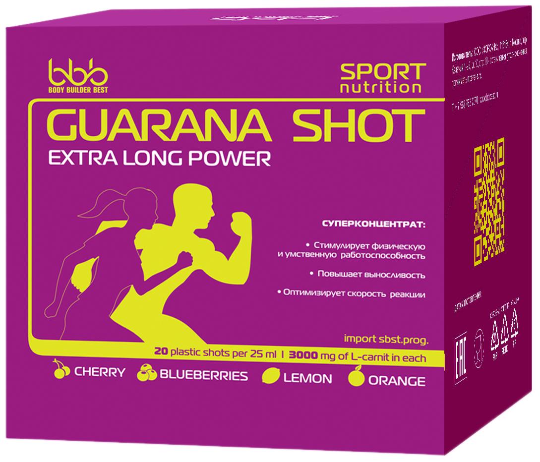 Энергетический напиток bbb Гуарана / Guarana. Лимон, 25 мл, 20 ампул105233Суперконцентрат:- стимулирует физическую и умственную работоспособность- повышает выносливость- оптимизирует силу и скорость реакцийВ каждой ампуле 150 мг кофеина (гуарана в пересчёте на кофеин + кофеин)Рекомендации по применению: Принимать по 1 ампуле за 20-30 минут до нагрузок.Состав: экстракт гуараны 22% - 500 мг (в т.ч. кофеин-110 мг), кофеин - 40 мг, аскорбиновая кислота, ароматизатор, идентичный натуральному, подсластитель сукралоза, вода очищенная.Как повысить эффективность тренировок с помощью спортивного питания? Статья OZON Гид