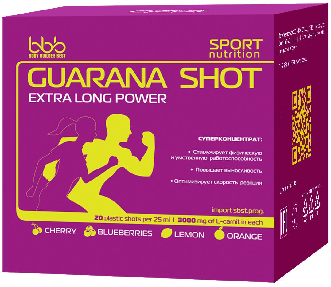 Энергетический напиток bbb Гуарана / Guarana. Микс, 25 мл, 20 ампул105304Суперконцентрат: - стимулирует физическую и умственную работоспособность - повышает выносливость - оптимизирует силу и скорость реакцийВ каждой ампуле 150мг кофеина (гуарана в пересчёте на кофеин + кофеин)Рекомендации по применению: Принимать по 1 ампуле за 20-30 минут до нагрузок.Состав: экстракт гуараны 22% - 500 мг (в т.ч. кофеин-110 мг), кофеин - 40 мг, аскорбиновая кислота, ароматизатор, идентичный натуральному, подсластитель сукралоза, вода очищенная.Как повысить эффективность тренировок с помощью спортивного питания? Статья OZON Гид