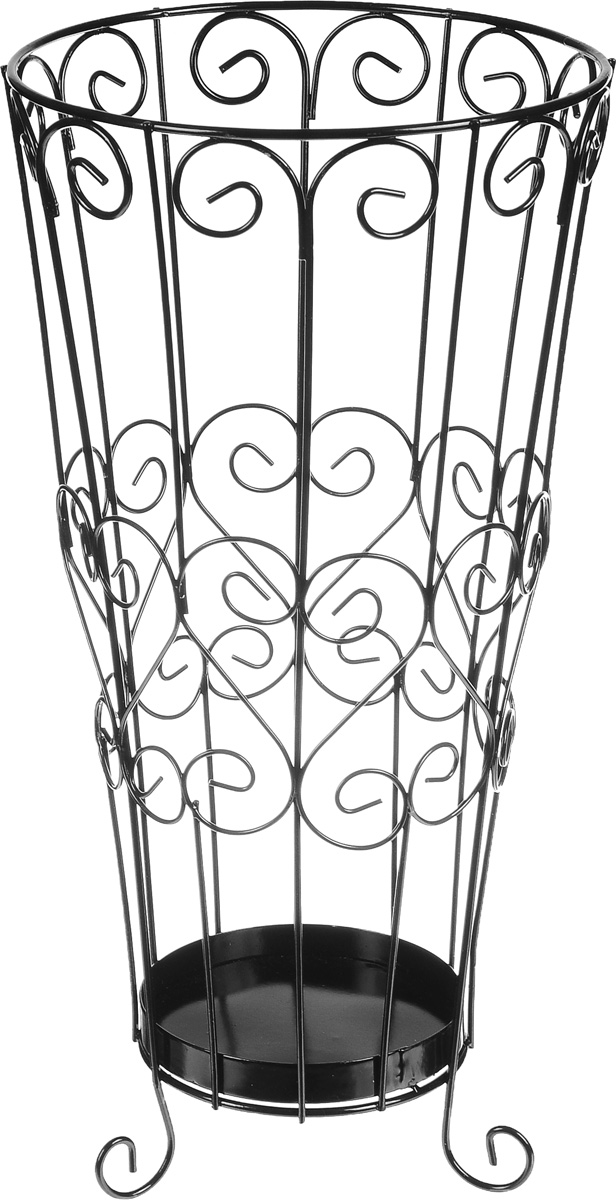 Подставка для зонтов Magic Home Ажурная, цвет: черный, 22 х 22 х 44 см44157Подставка Ажурная, изготовленная из окрашенного металла, предназначена для хранения зонтов. Подставка выполнена в виде красиво изогнутых металлических прутьев. Изделие располагается на изящных ножках-завитках. Оригинальный дизайн изделия идеально впишется в интерьер любой прихожей. Подставка компактная и не занимает много места. Подставка для зонтов - это не только способ организовать пространство, но и идеальный элемент декора.Диаметр подставки: 22 см. Высота подставки: 44 см.