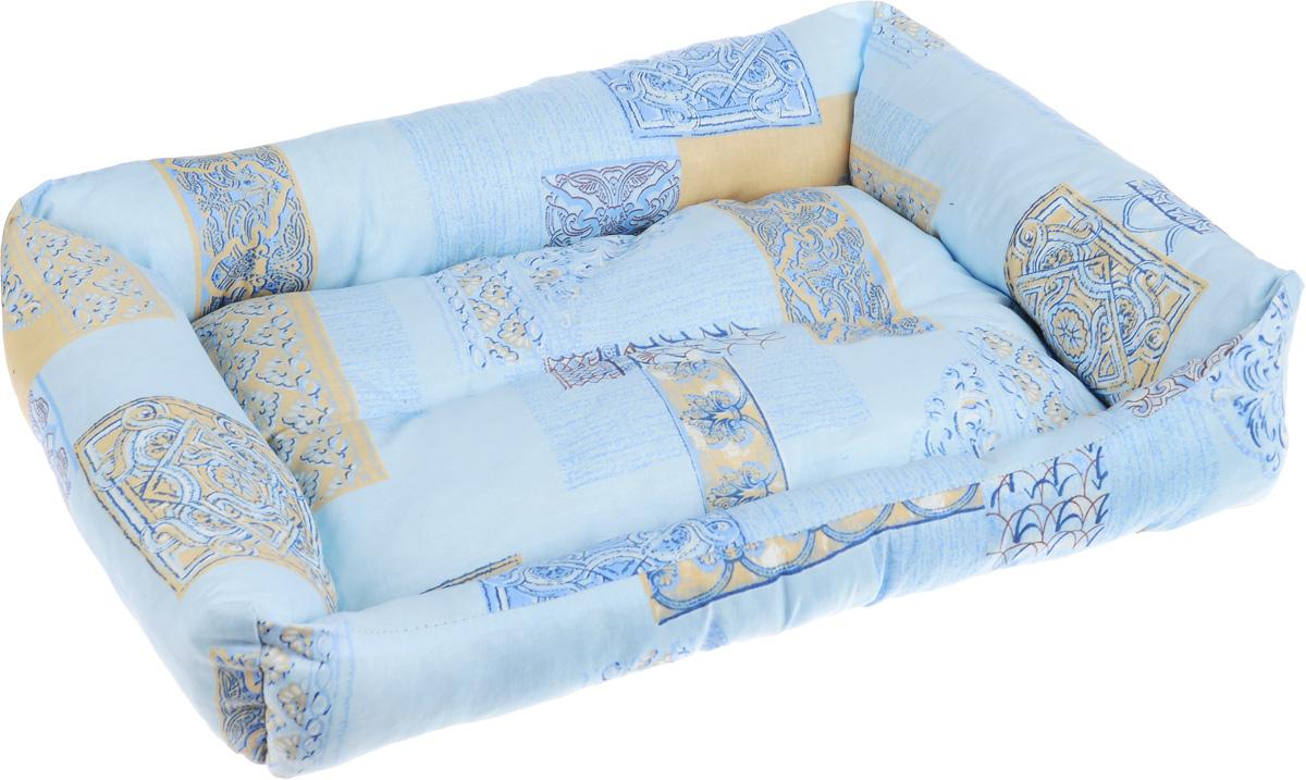 """Лежак для животных Elite Valley """"Пуфик"""", цвет: голубой, светло-бежевый, коричневый, 51 х 38 х 15 см"""