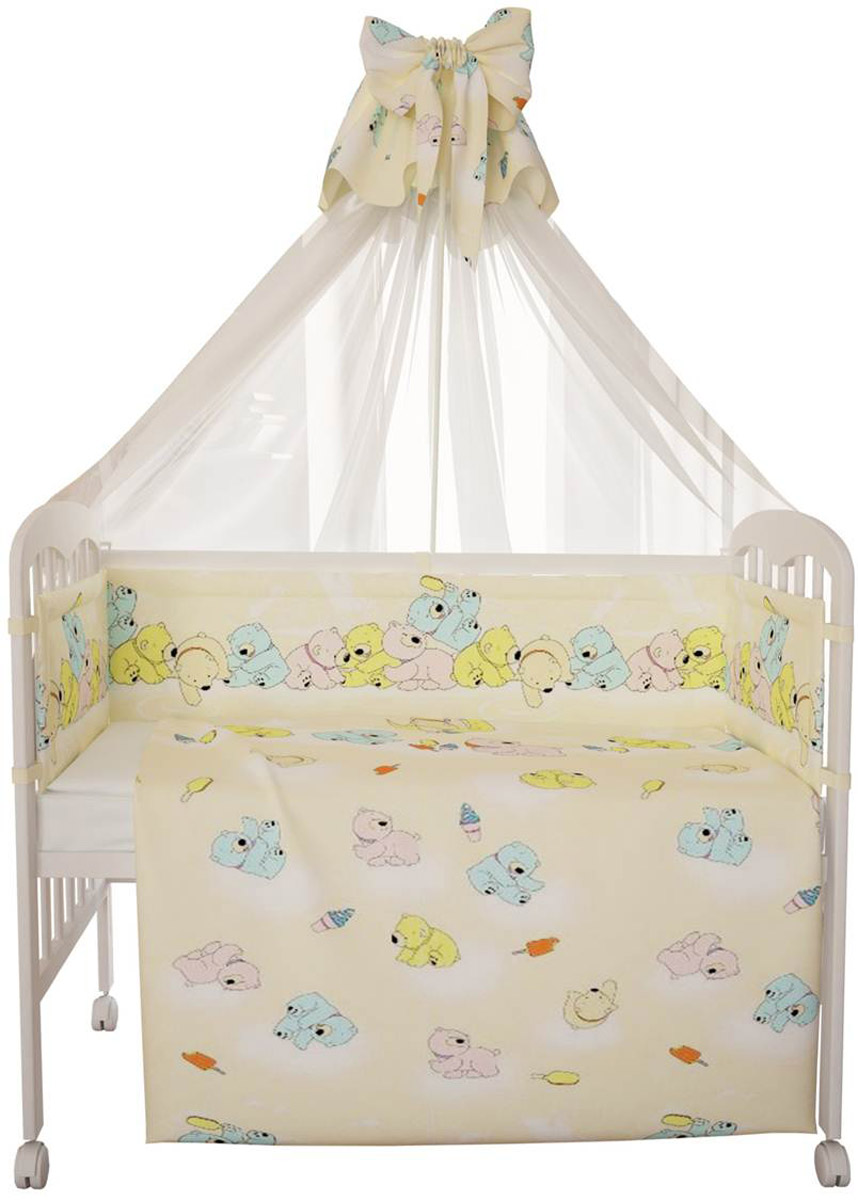 """Комплект в кроватку Фея """"Мишки"""" прекрасно подойдет для кроватки вашего малыша, добавит комнате уюта и согреет в прохладные дни. В качестве материала верха использован натуральный 100% хлопок. Мягкая ткань не раздражает чувствительную и нежную кожу ребенка и хорошо вентилируется.  Бортик, подушка и одеяло наполнены холлотеком, нетканым материалом, который производится из полых сильно извитых волокон. За счет этого материал приобретает объем, упругость, и особенную мягкость. Балдахин выполнен из легкой прозрачной вуали. Очень важно, чтобы ваш малыш хорошо спал - это залог его здоровья, а значит вашего спокойствия. Комплект Фея """"Мишки"""" идеально подойдет для кроватки вашего малыша. На нем ваш кроха будет спать здоровым и крепким сном.Комплектация:- бортик (2 х 35 см х 60 см, 2 х 35 см х 120 см); - балдахин (150 см х 300 см);- плоская подушка (40 см х 60 см);- одеяло (110 см х 140 см);- пододеяльник (110 см х 140 см);- наволочка (40 см х 60 см);- простыня (100 см х 160 см)."""