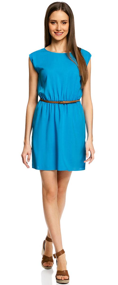 Платье oodji Ultra, цвет: светло-синий. 11910073B/26346/7500N. Размер 40-170 (46-170)11910073B/26346/7500NПлатье oodji Ultra, выгодно подчеркивающее достоинства фигуры, выполнено из легкой струящейся ткани. Модель мини-длины с круглым вырезом горловины и короткими рукавами дополнена двумя прорезными карманами на юбке.В комплект с платьемвходит узкий ремень из искусственной кожи с металлической пряжкой.