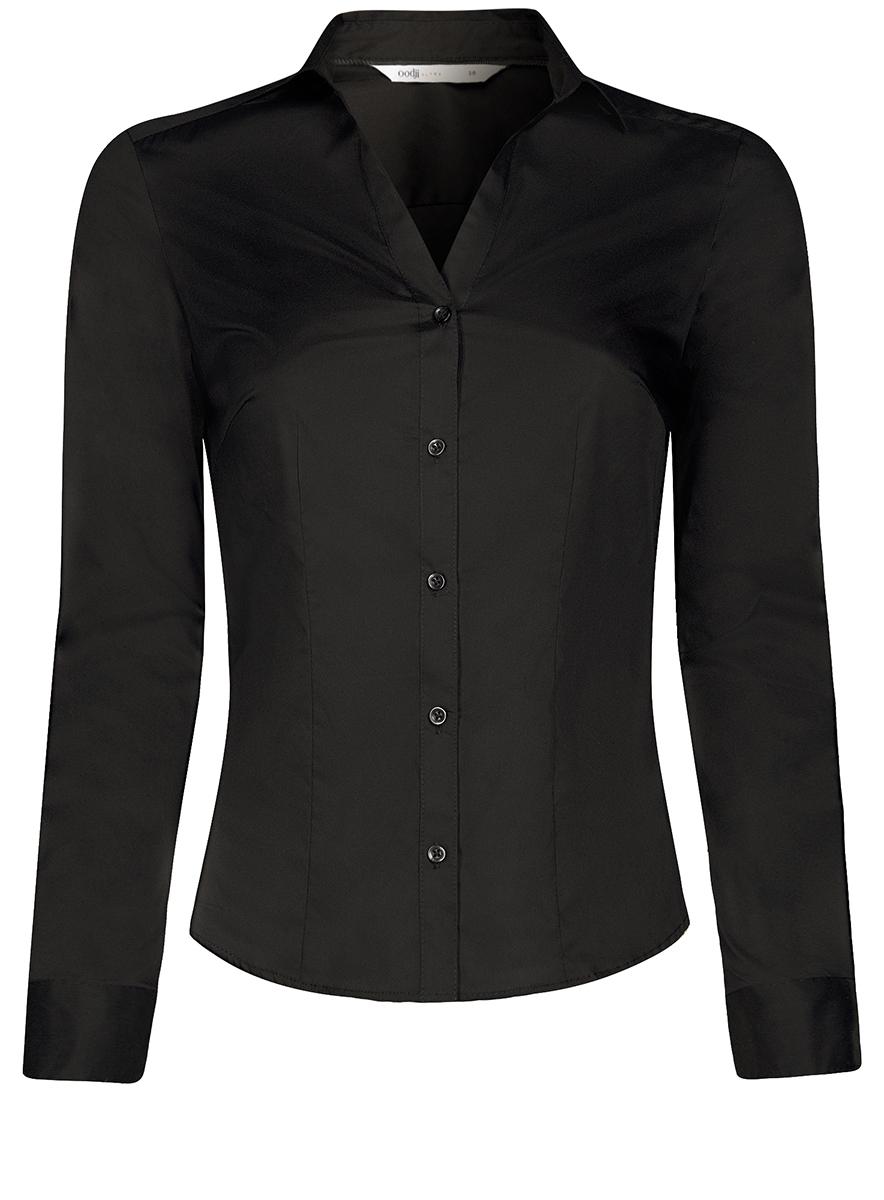 Рубашка женская oodji Ultra, цвет: черный. 11402092B/42083/2900N. Размер 44-170 (50-170)