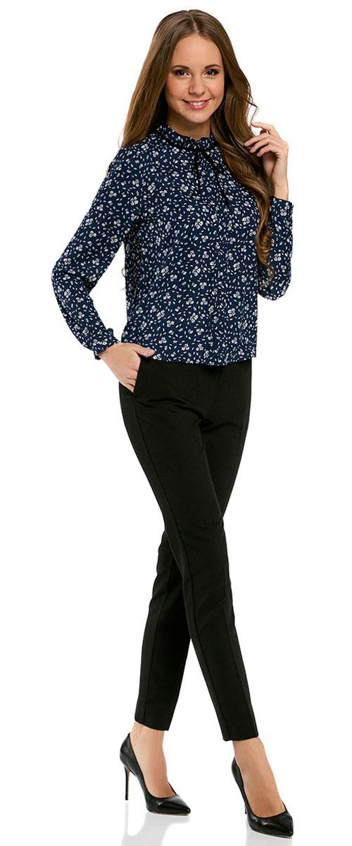 Блузка женская oodji Ultra, цвет: темно-синий, кремовый. 11411091-2/36215/7930F. Размер 40-170 (46-170) жилет женский oodji ultra цвет темно синий зеленый 12300099 6 46373 7962d размер 40 170 46 170
