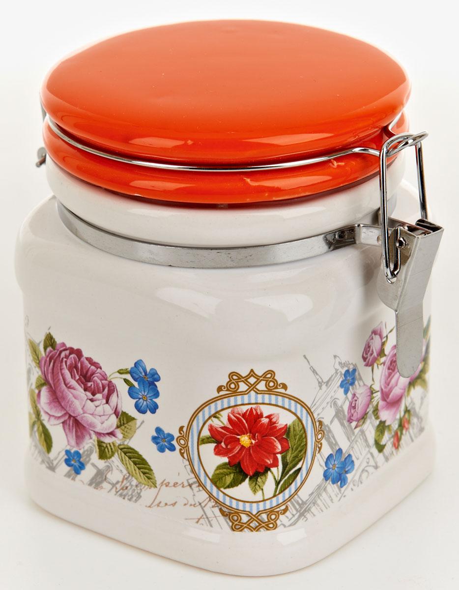 Банка для сыпучих продуктов Nouvelle De France Лето в Европе, 500 мл0660093Банка для сыпучих продуктов Nouvelle De France Лето в Европе изготовлена из прочной доломитовой керамики, покрытой слоем сверкающей гладкой глазури. Изделие оформлено красочным изображением. Банка прекрасно подойдет для хранения различных сыпучих продуктов: чая, кофе, сахара, круп и многого другого. Благодаря силиконовой прослойке и бугельному замку, крышка герметично закрывается, что позволяет дольше сохранять продукты свежими. Изящная емкость не только поможет хранить разнообразные сыпучие продукты, но и стильно дополнит интерьер кухни. Изделие подходит для использования в посудомоечной машине и в холодильнике.