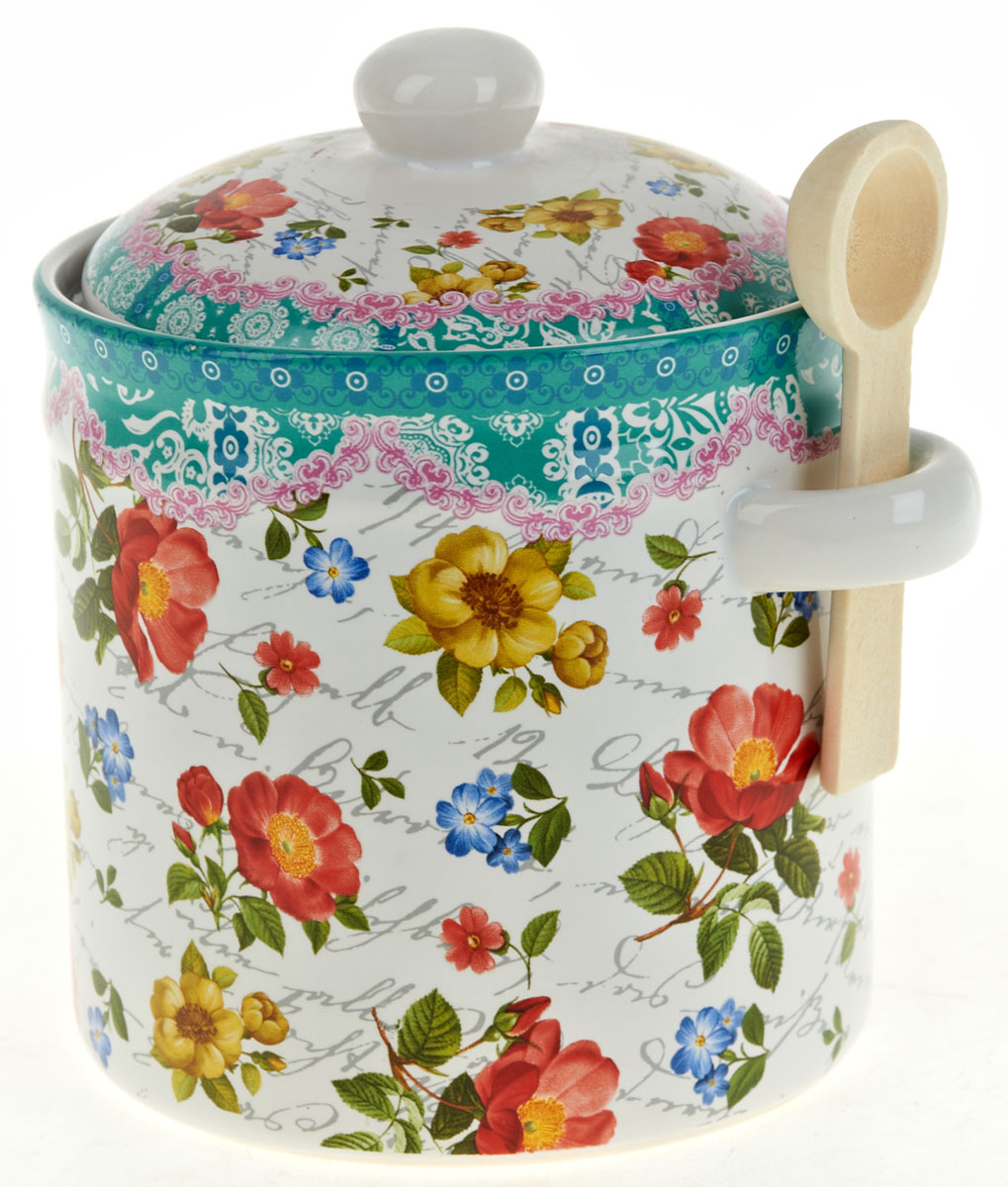 """Баночка для сыпучих продуктов Nouvelle De France """"Цветочная поэма"""" с крышкой и деревянной ложечкой. Изготовлена из керамики. Будет уместна в любом интерьере.  Изделие упаковано в подарочную коробку."""