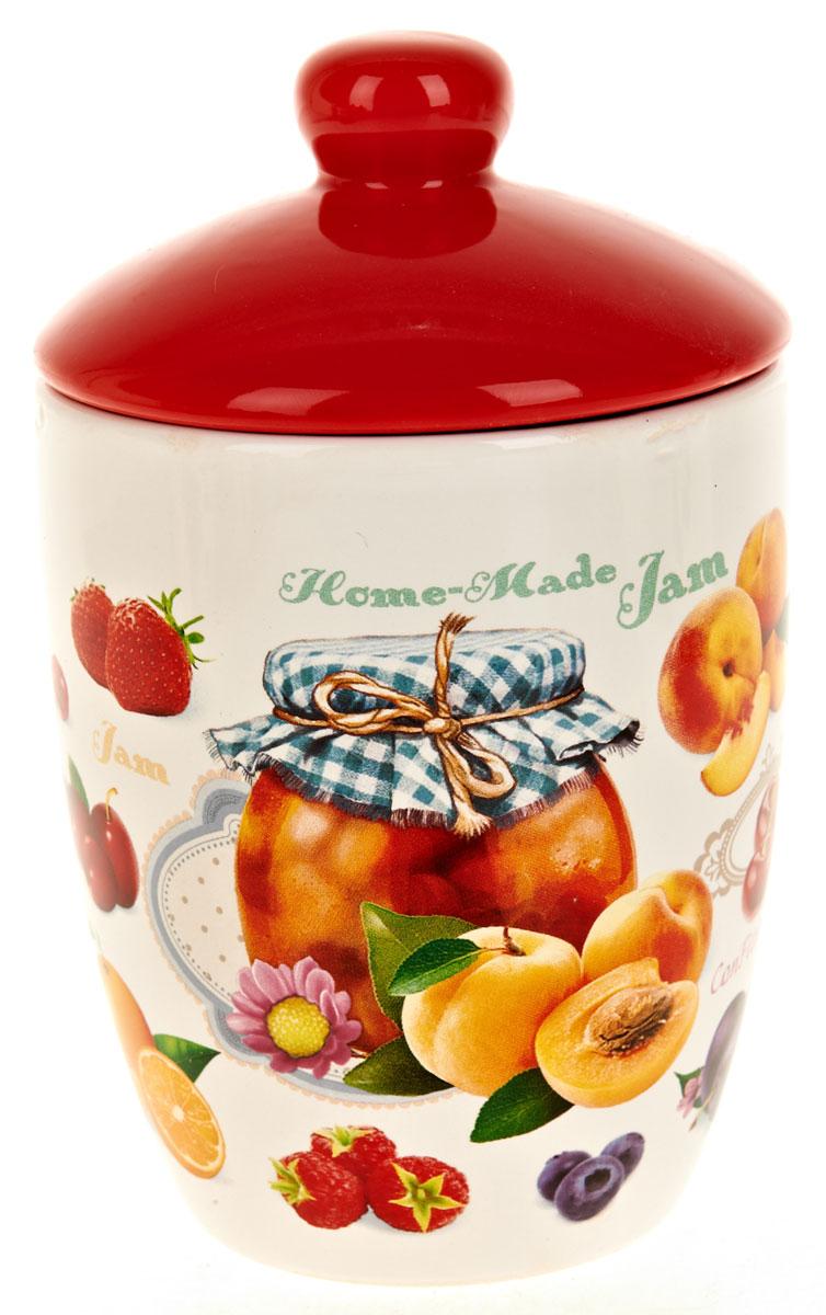 Банка для сыпучих продуктов Polystar Джем, 600 млL2430702Банка для сыпучих продуктов Polystar Джем изготовлена из прочной доломитовой керамики, покрытой слоем сверкающей гладкой глазури. Изделие оформлено красочным изображением.Банка прекрасно подойдет для хранения различных сыпучих продуктов: чая, кофе, сахара, круп и многого другого. Благодаря силиконовой прослойке и бугельному замку, крышка герметично закрывается, что позволяет дольше сохранять продукты свежими.Изящная емкость не только поможет хранить разнообразные сыпучие продукты, но и стильно дополнит интерьер кухни.