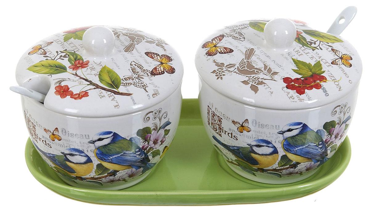 Набор банок для сыпучих продуктов Polystar Birds, с ложками, 5 предметов. l2430749 пижама с шортами relax mode