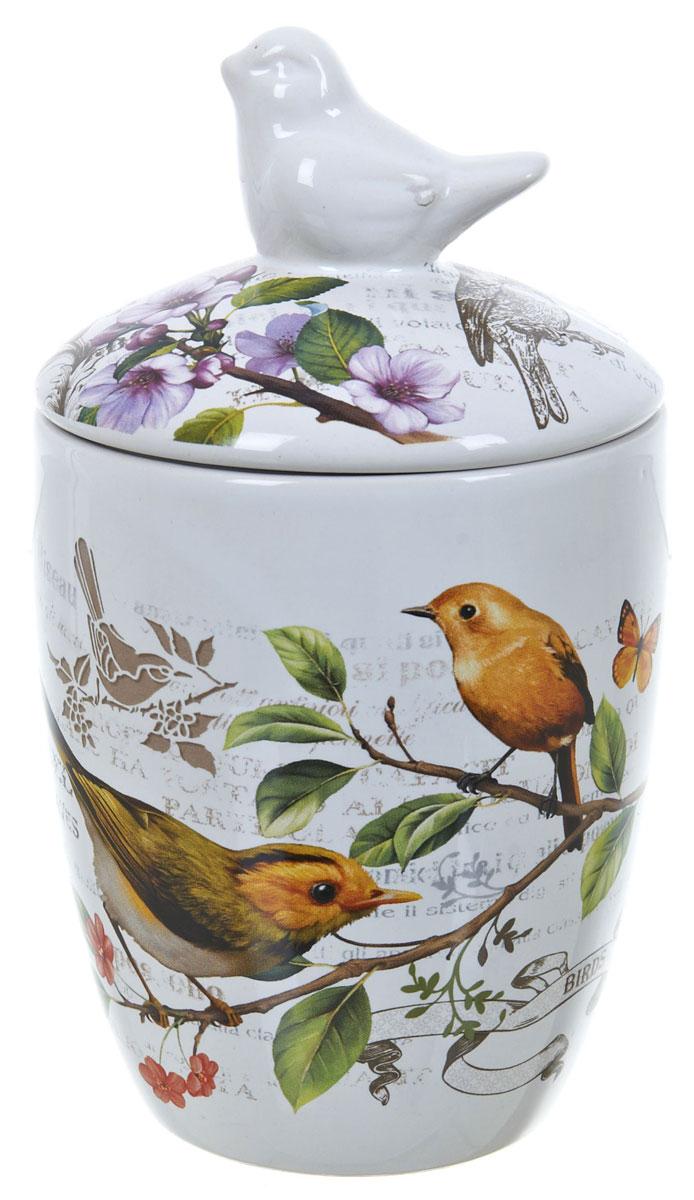 Банка для сыпучих продуктов Polystar Birds, 600 млL2430765Банка для сыпучих продуктов Polystar Birds изготовлена из прочной доломитовой керамики, покрытой слоем сверкающей гладкой глазури. Изделие оформлено красочным изображением. Банка прекрасно подойдет для хранения различных сыпучих продуктов: чая, кофе, сахара, круп и многого другого. Благодаря силиконовой прослойке и бугельному замку, крышка герметично закрывается, что позволяет дольше сохранять продукты свежими. Изящная емкость не только поможет хранить разнообразные сыпучие продукты, но и стильно дополнит интерьер кухни. Изделие подходит для использования в посудомоечной машине и в холодильнике.
