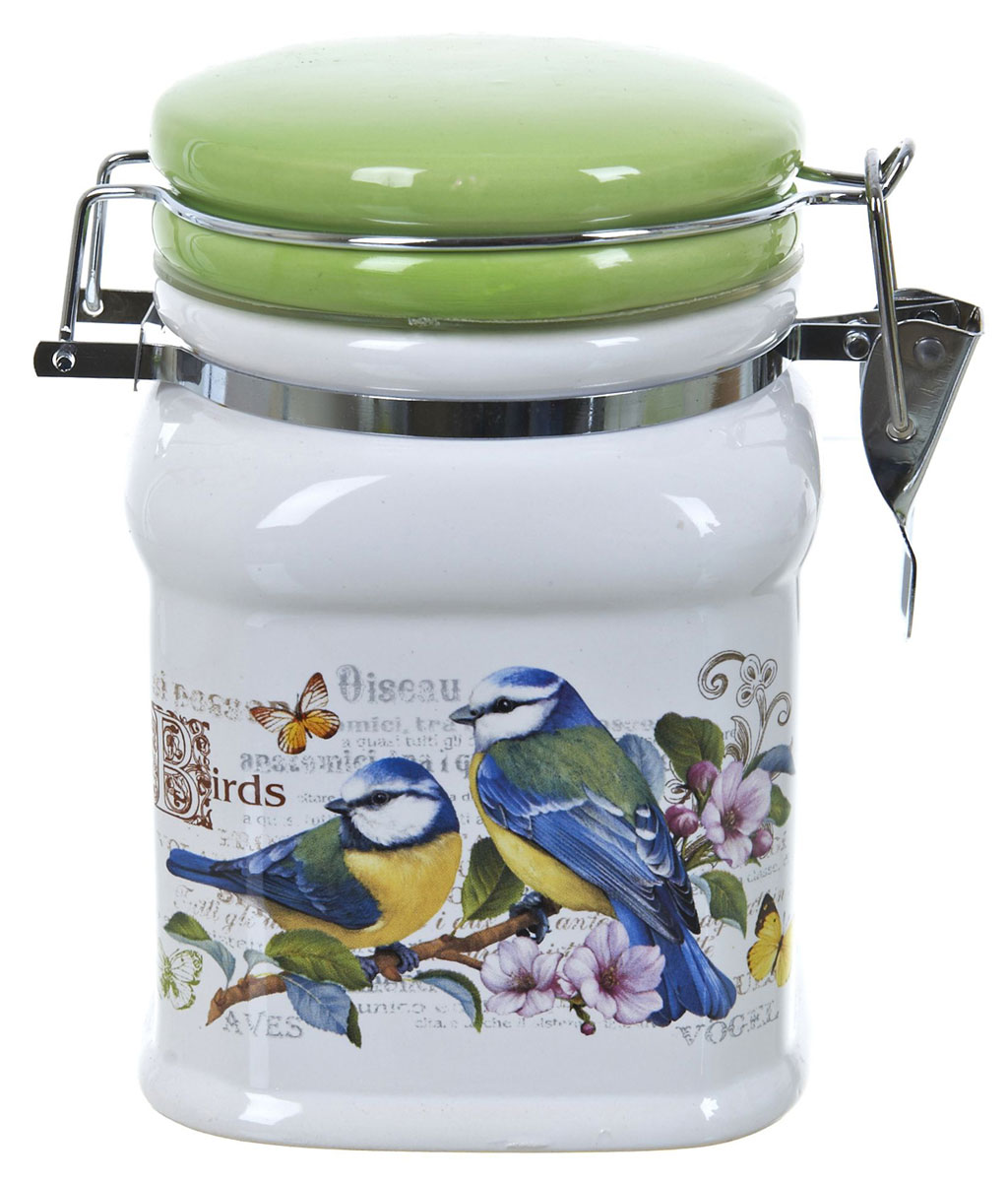 Банка для сыпучих продуктов Polystar Birds, 700 млL2430770Банка для сыпучих продуктов Polystar Birds изготовлена из прочной доломитовой керамики, покрытой слоем сверкающей гладкой глазури. Изделие оформлено красочным изображением.Банка прекрасно подойдет для хранения различных сыпучих продуктов: чая, кофе, сахара, круп и многого другого. Благодаря силиконовой прослойке и бугельному замку, крышка герметично закрывается, что позволяет дольше сохранять продукты свежими.Изящная емкость не только поможет хранить разнообразные сыпучие продукты, но и стильно дополнит интерьер кухни.Изделие подходит для использования в посудомоечной машине и в холодильнике.