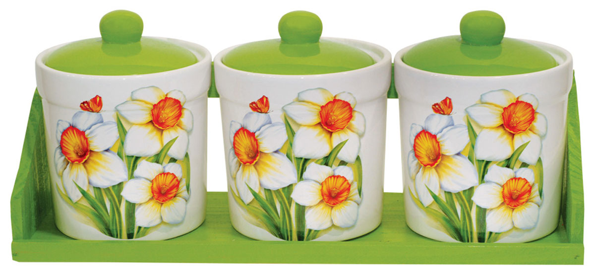 Набор банок для сыпучих продуктов Polystar Нарцисс, 4 предмета набор банок для сыпучих продуктов polystar орнамент 4 предмета l2520358