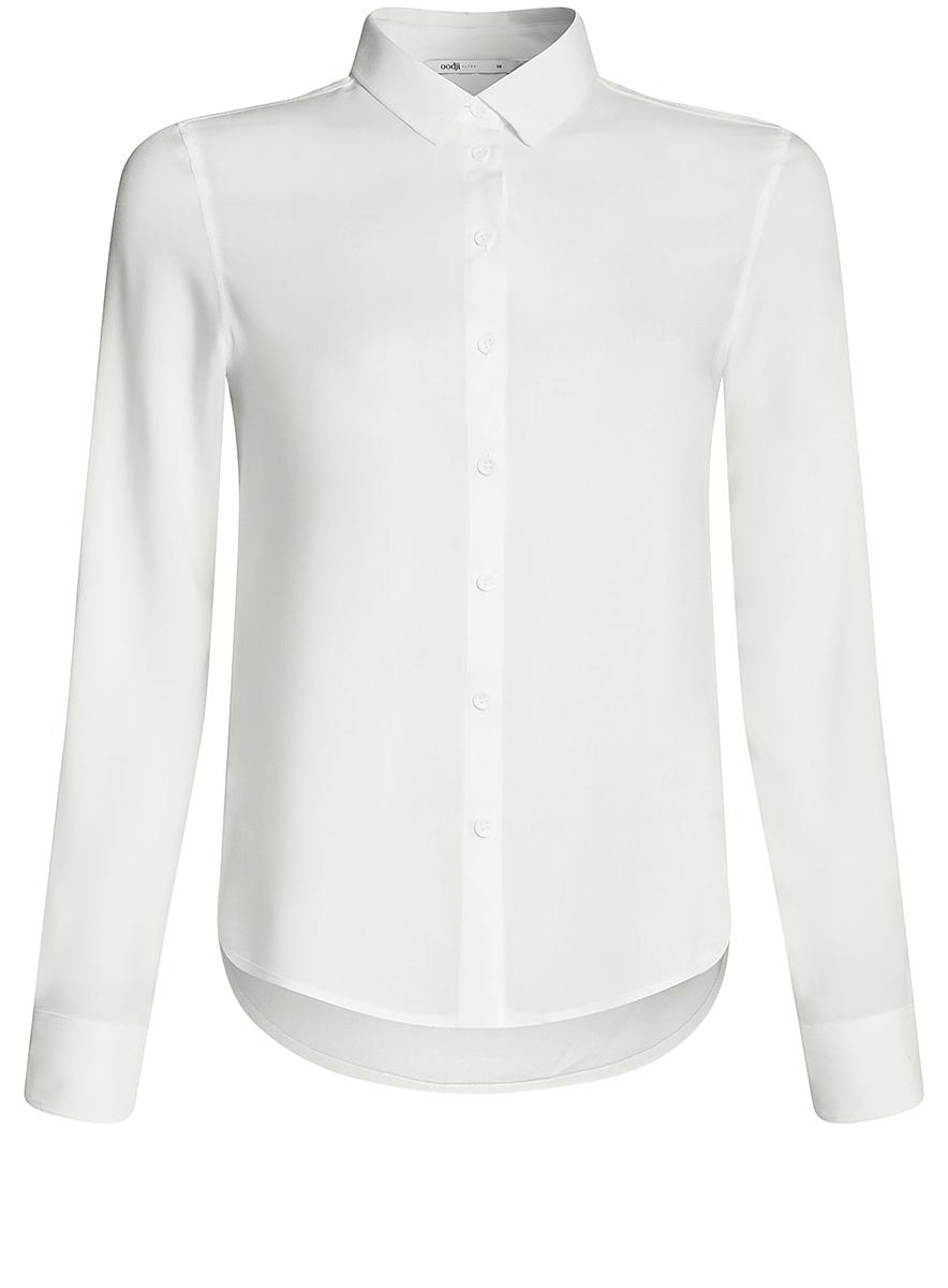 где купить Блузка женская oodji Ultra, цвет: белый. 11411136B/26346/1200N. Размер 40-170 (46-170) дешево