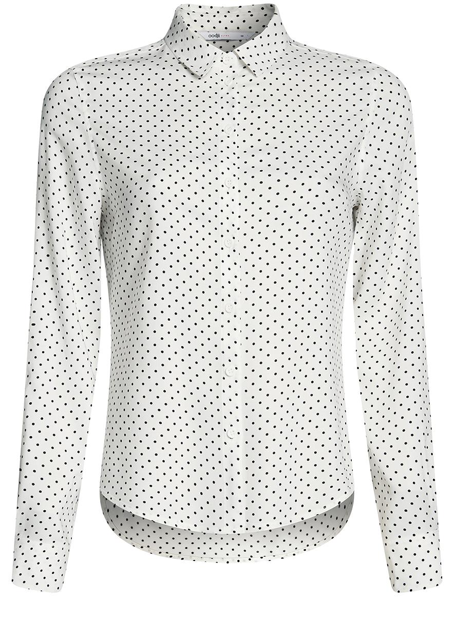 Блузка женская oodji Ultra, цвет: белый, черный. 11411136B/26346/1229D. Размер 42-170 (48-170) блузка женская oodji ultra цвет серо зеленый 11411127b 26346 6c00n размер 42 48 170