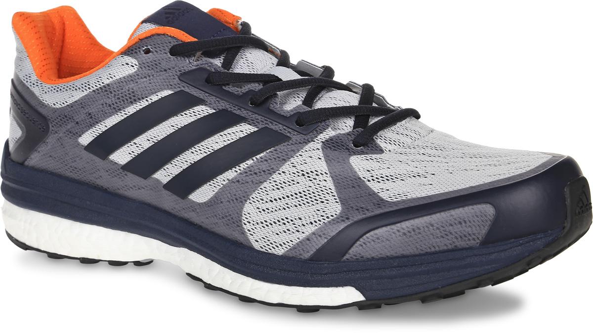 Кроссовки для бега мужские adidas Performance Supernova Sequence 9, цвет: серый, темно-синий. BB1612. Размер 10,5 (44)BB1612Мужские кроссовки для бега adidas Performance Supernova Sequence 9 выполнены из сетчатого текстиля и оформлены фирменными накладками из полимера. Шнурки надежно зафиксируют модель на ноге. Внутренняя поверхность из текстиля комфортна при движении. Стелька выполнена из легкого ЭВА-материала с поверхностью из текстиля. Подошва изготовлена из высококачественной легкой резины и дополнена рельефным рисунком.