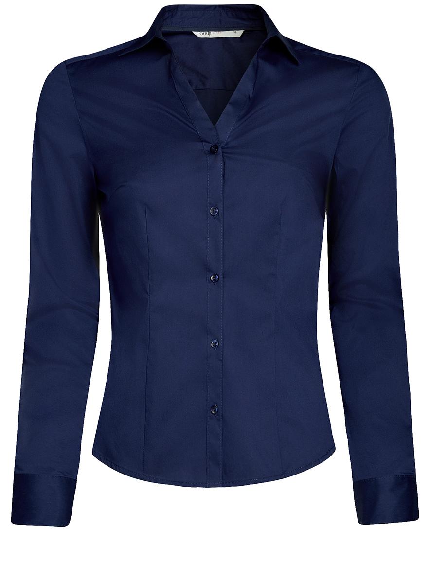 Рубашка женская oodji Ultra, цвет: темно-синий. 11402092B/42083/7900N. Размер 40-170 (46-170) блузка женская oodji ultra цвет белый 11400444 2 42083 1000n размер 42 170 48 170